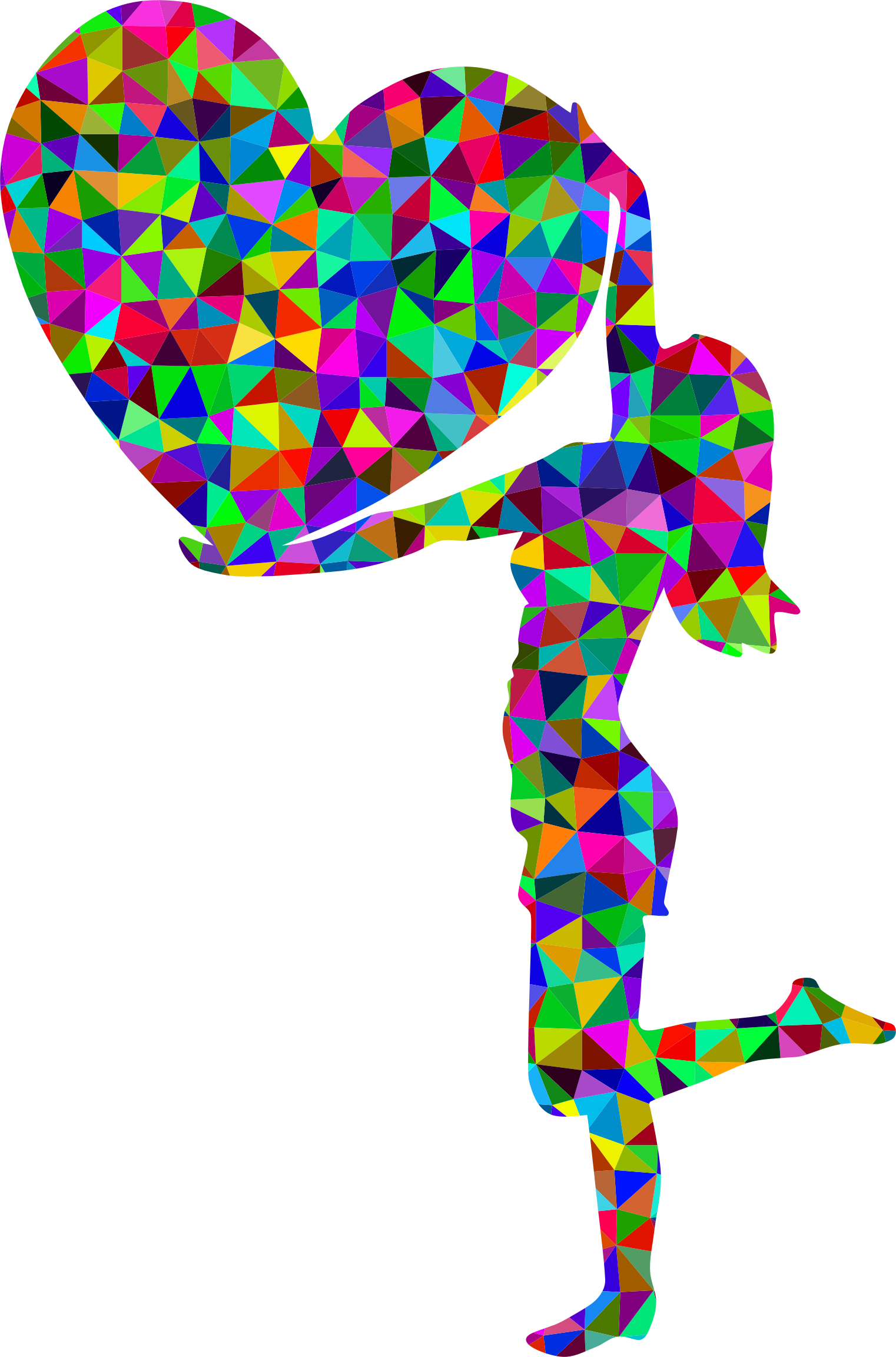 Prismatic Low Poly Woman With Big Heart by GDJ