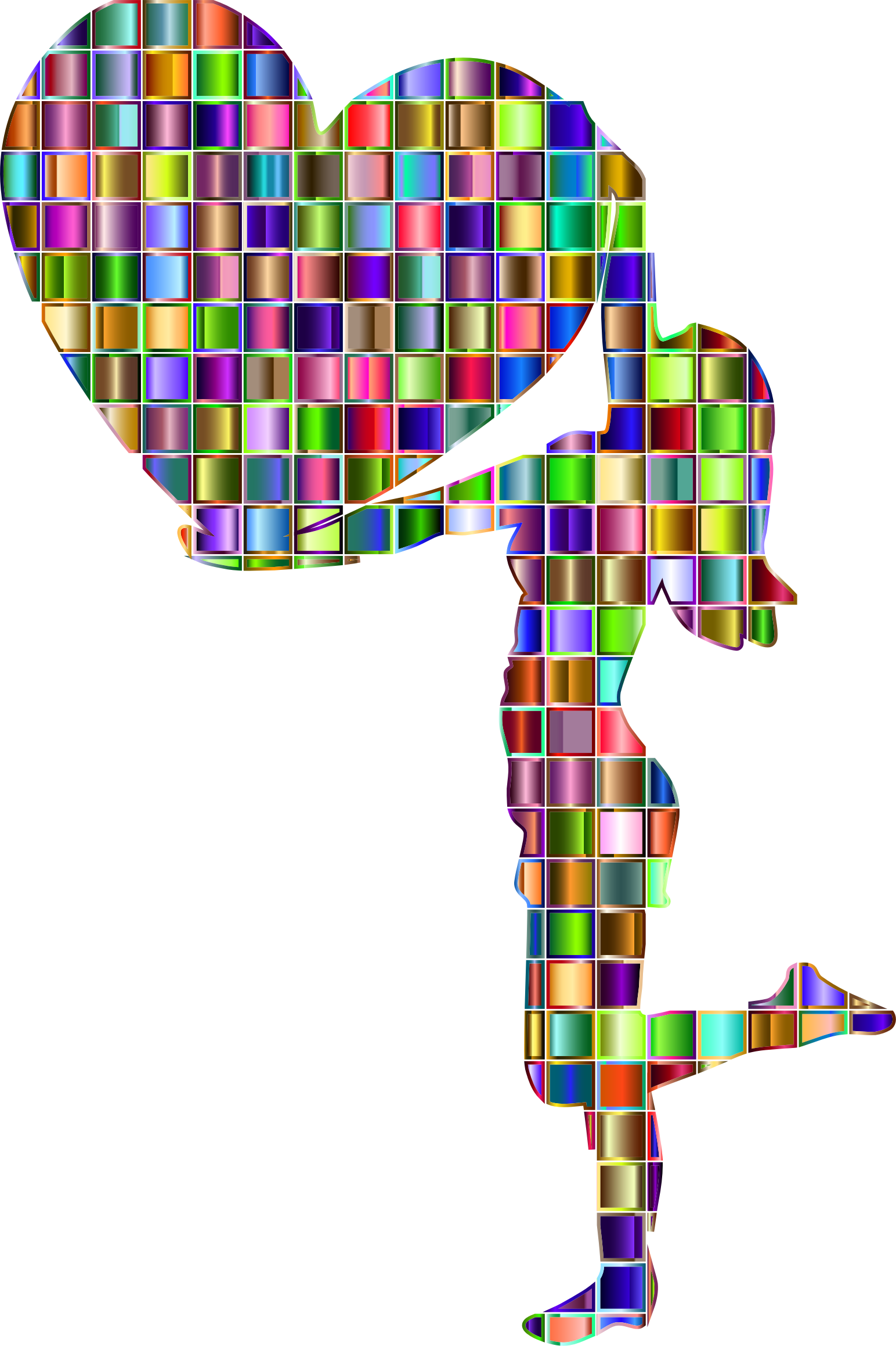 Chromatic Mosaic Woman With Big Heart by GDJ