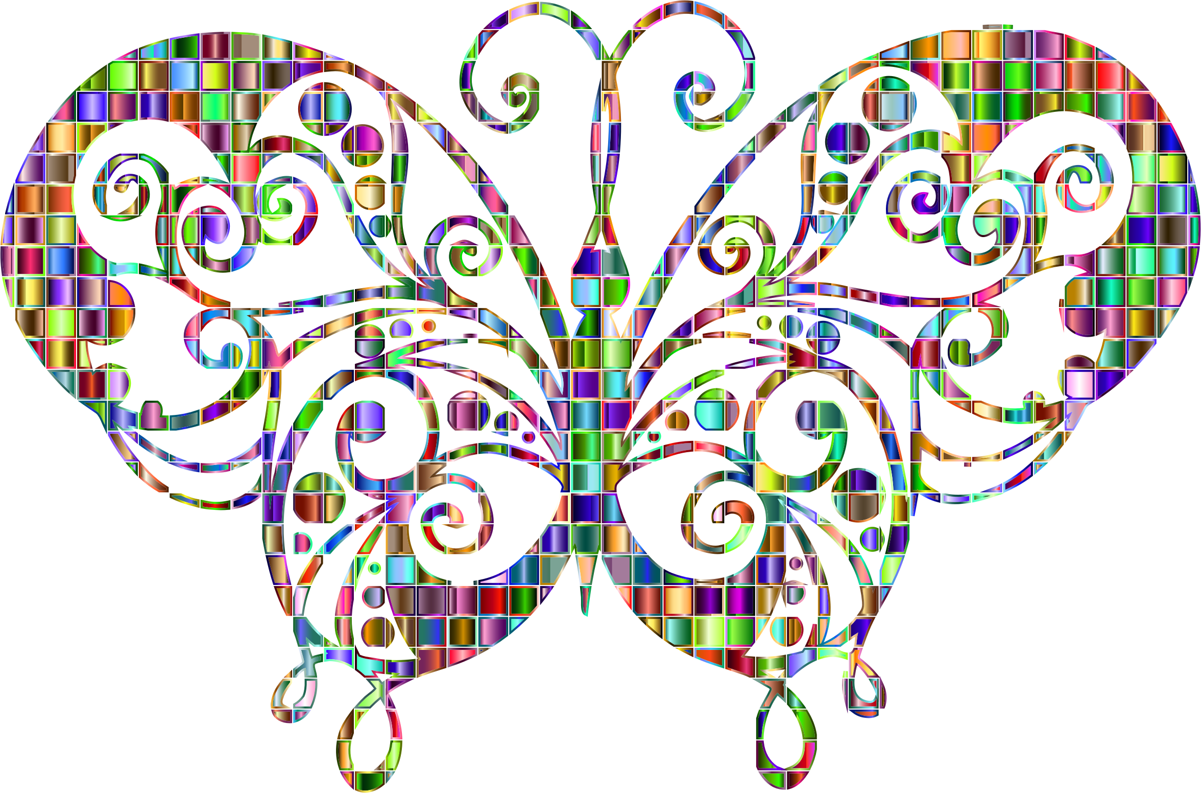 Chromatic Mosaic Flourish Butterfly by GDJ