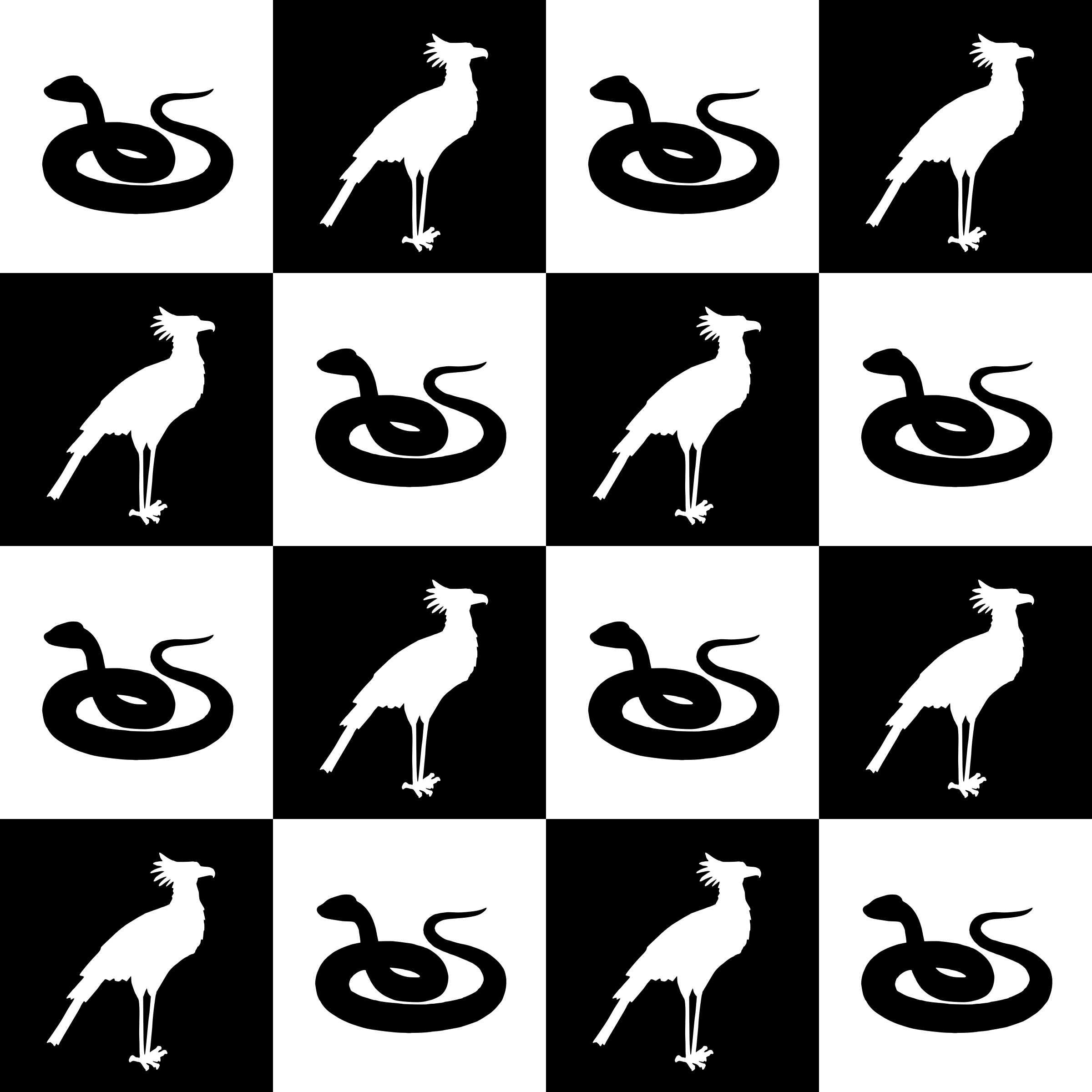 Bird and snake pattern (black and white) by Firkin