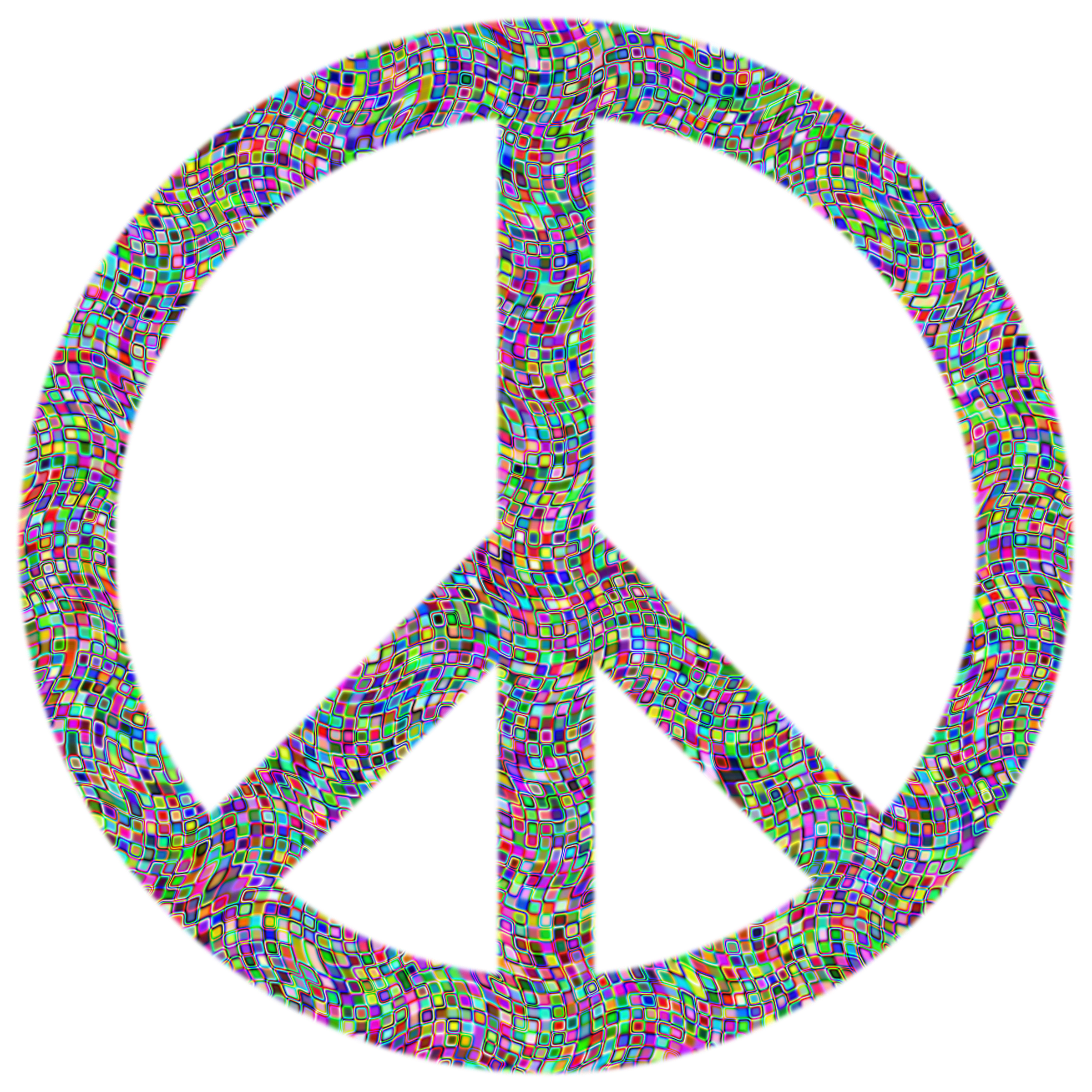 Prismatic Psychedelic Confetti Peace Sign by GDJ