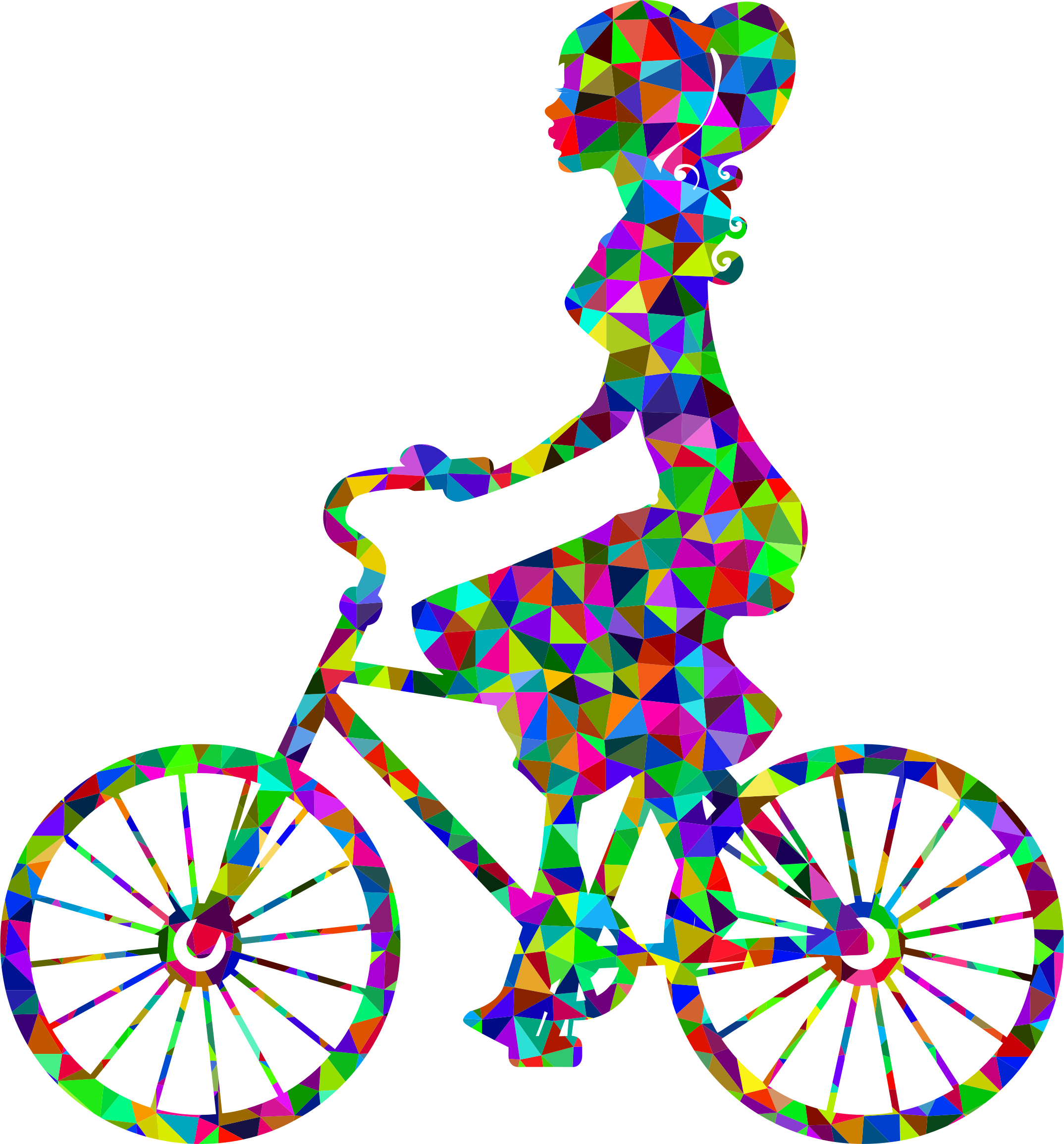 Low Poly Prismatic Girl On Bike by GDJ