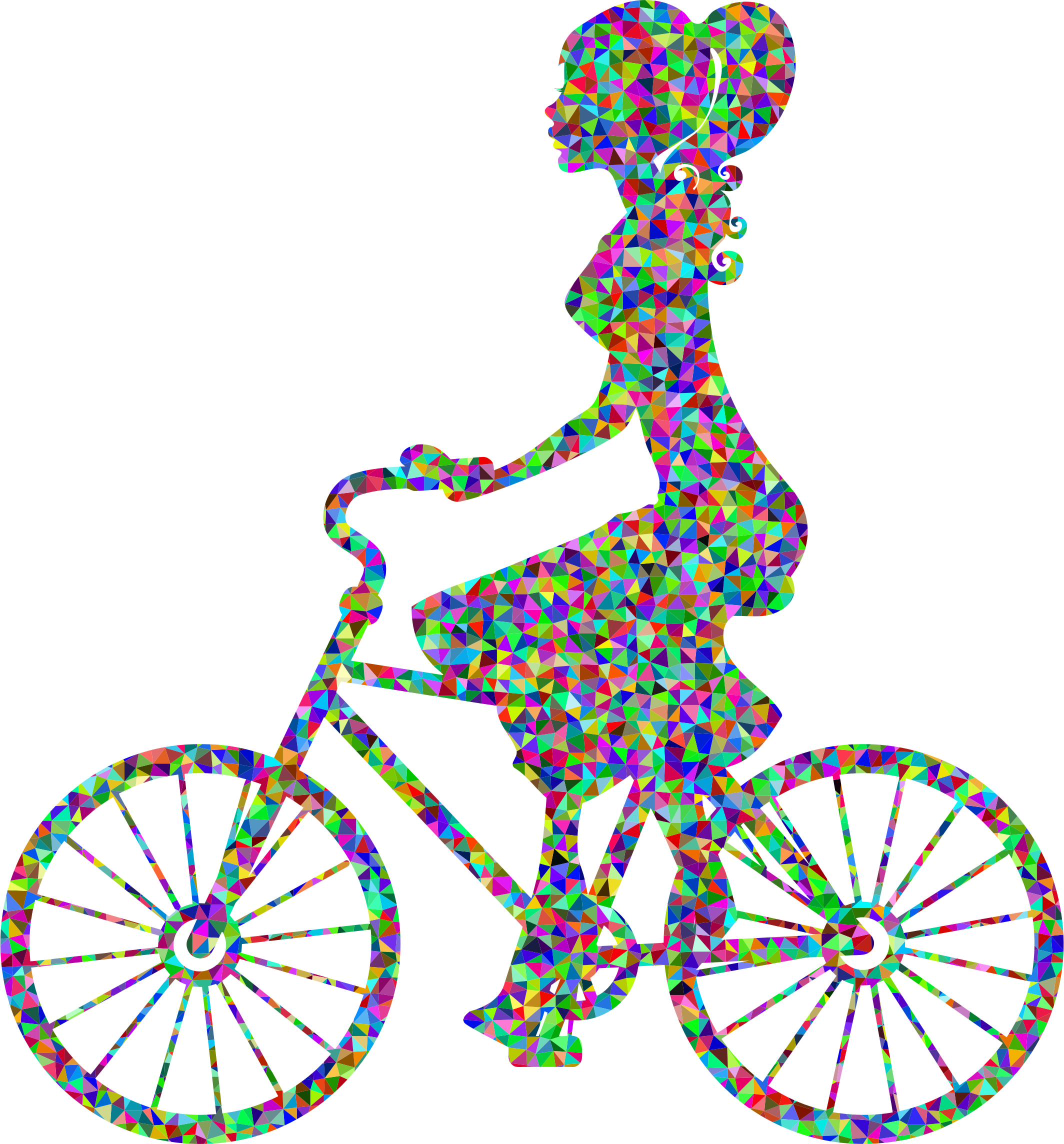 Low Poly Prismatic Girl On Bike High Detail by GDJ
