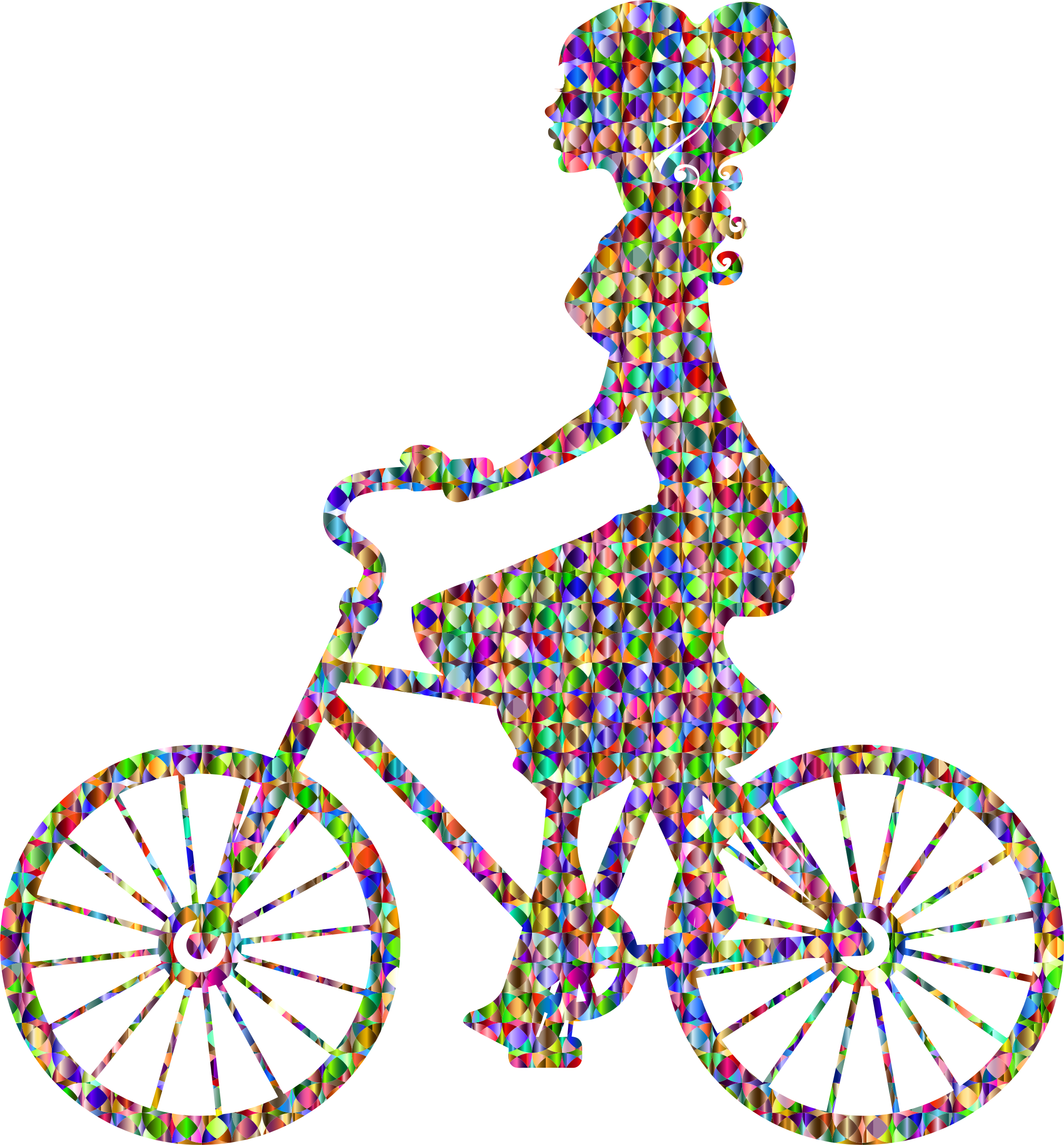 Chromatic Bejeweled Girl On Bike by GDJ