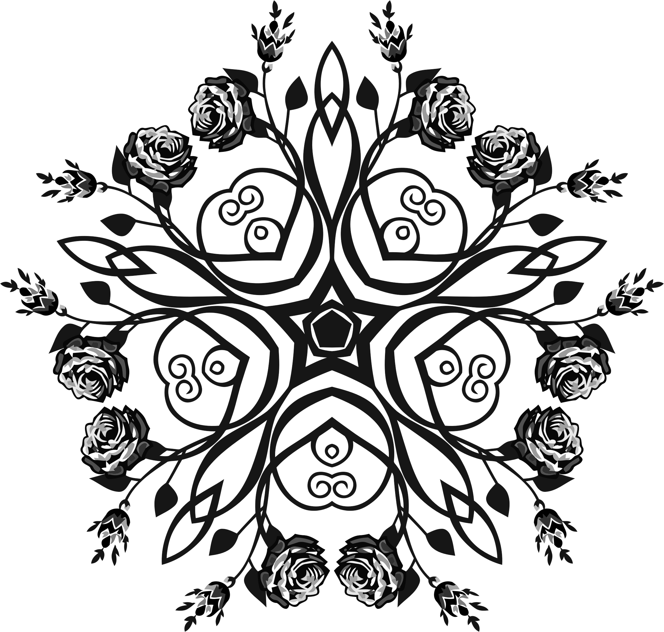 Rose Floral Flourish Design 5 by GDJ