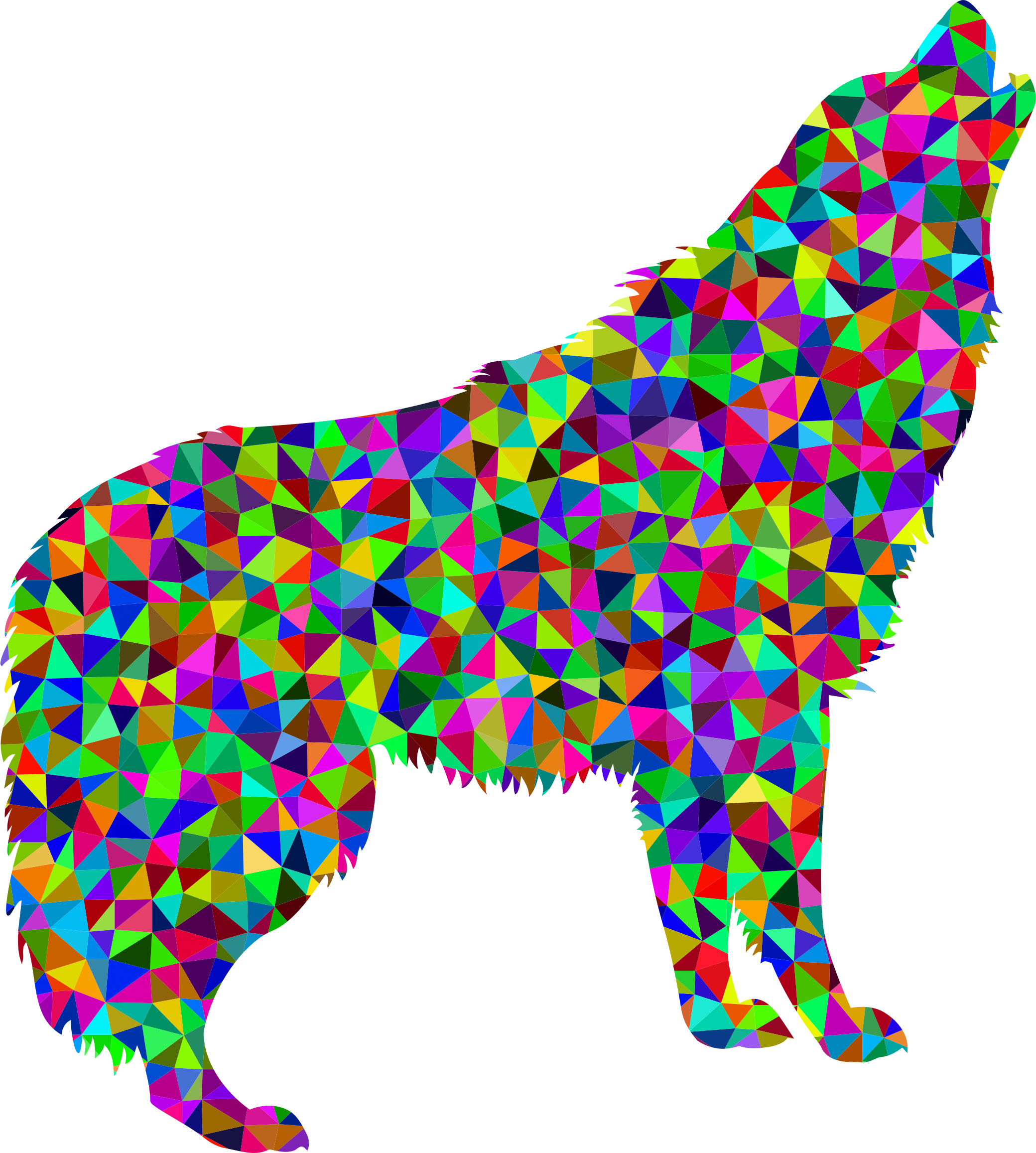 Low Poly Prismatic Howling Wolf by GDJ
