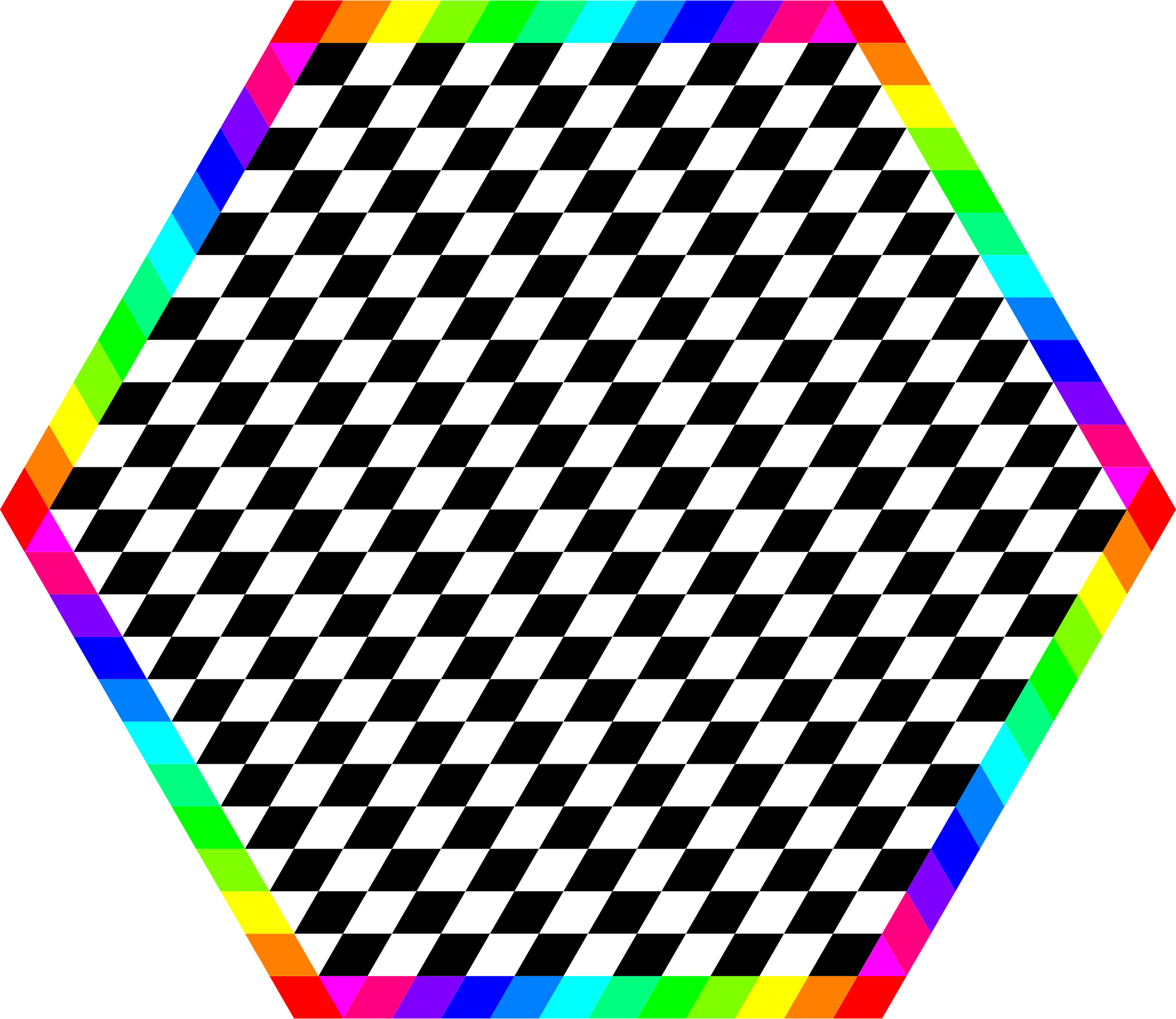 Rainbow Hexagon Ring with chessboard inside by 10binary