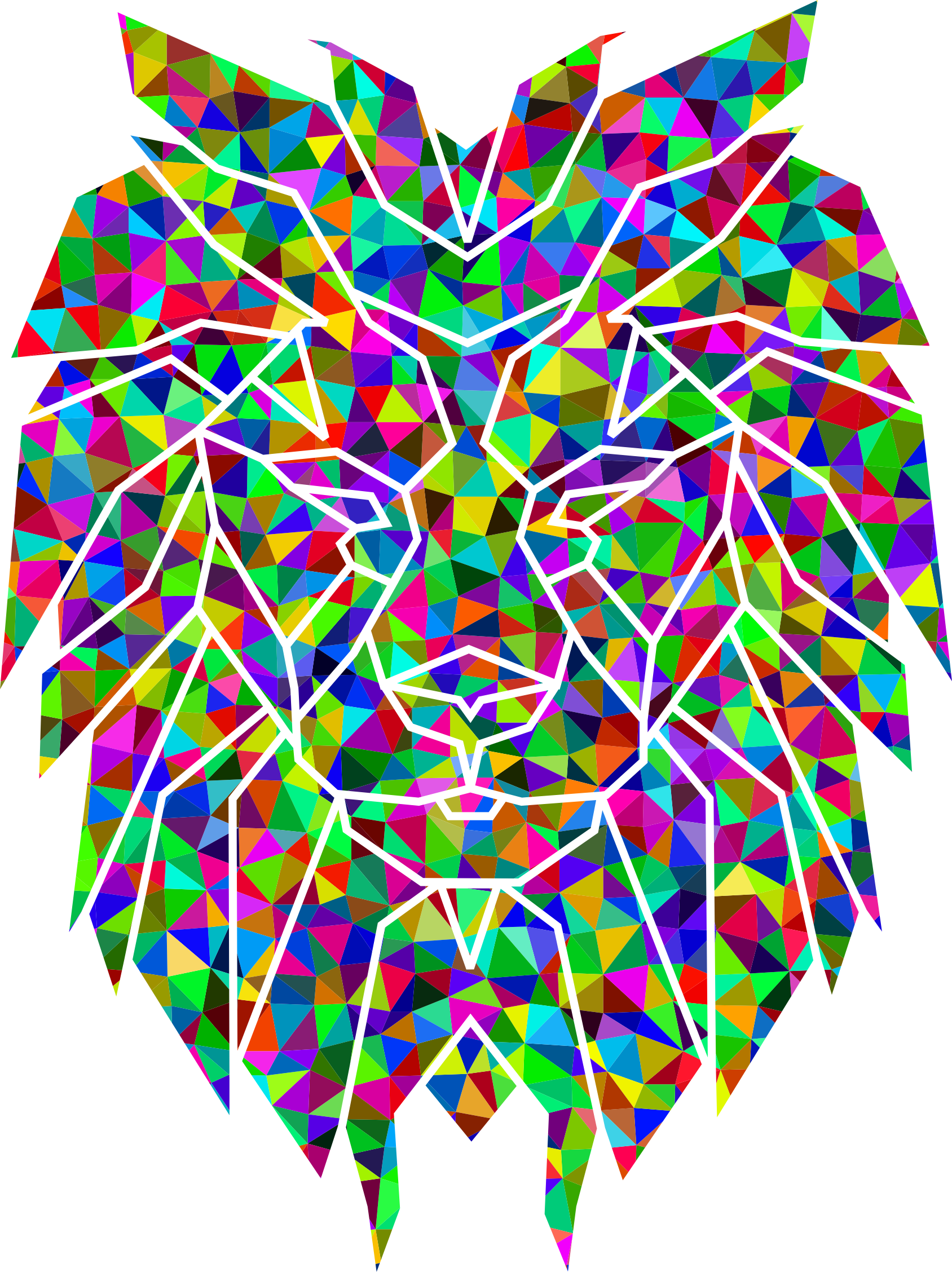 Prismatic Low Poly Polygonal Lion Face by GDJ