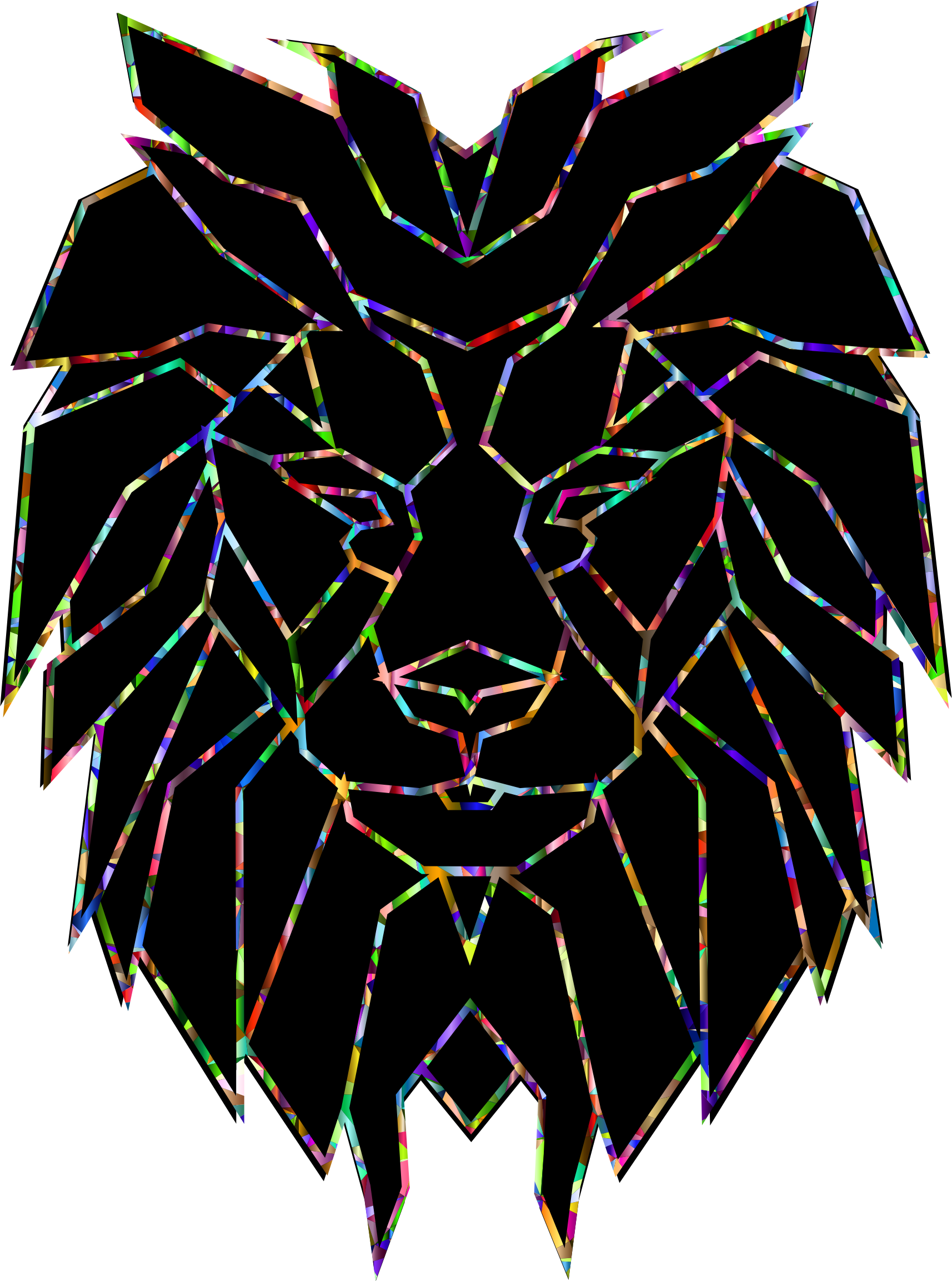 Chromatic Polygonal Lion Face by GDJ