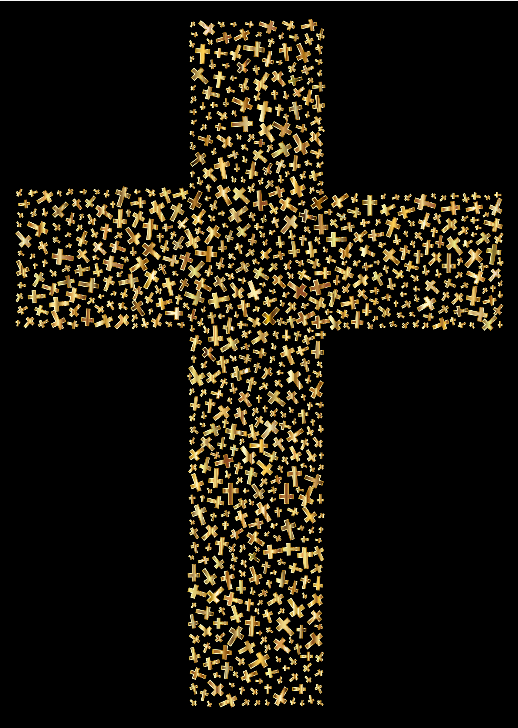 Gold Cross Fractal With Background by GDJ