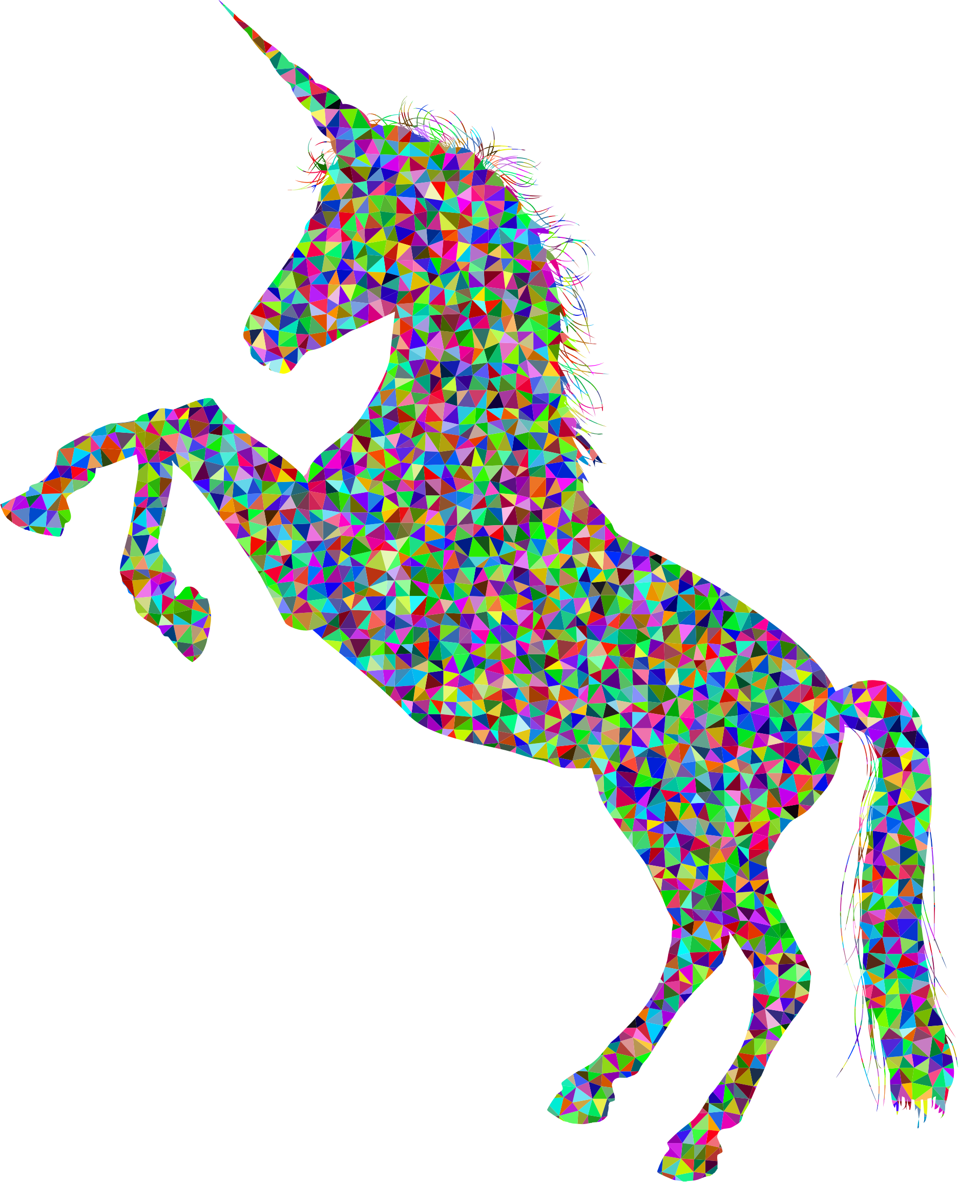 Low Poly Prismatic Unicorn Silhouette High Detail by GDJ