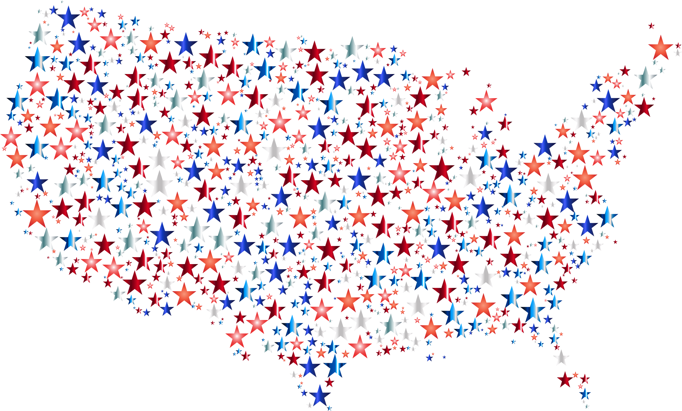 United States Map Prismatic Stars 4 by GDJ
