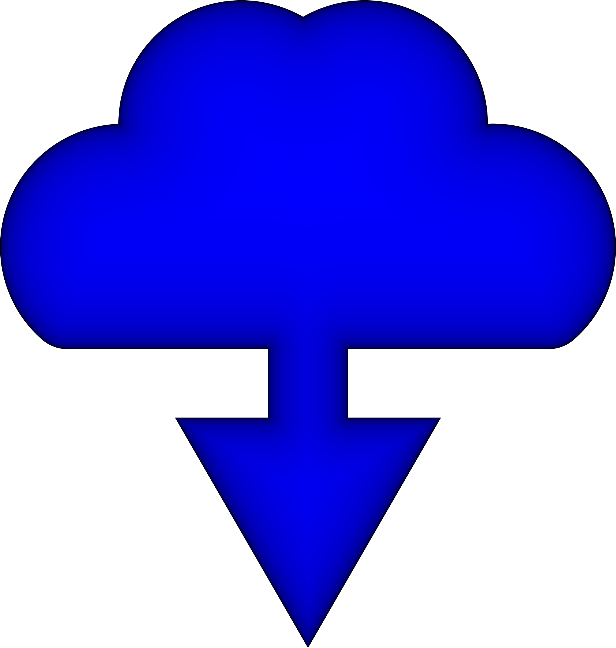 Simple Download Cloud Icon Glowing by GDJ