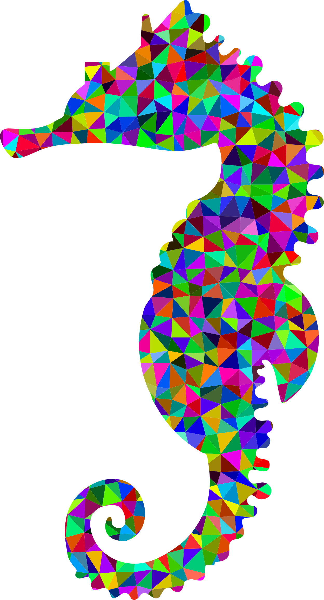 Clipart - Low Poly Prismatic Seahorse Silhouette 2