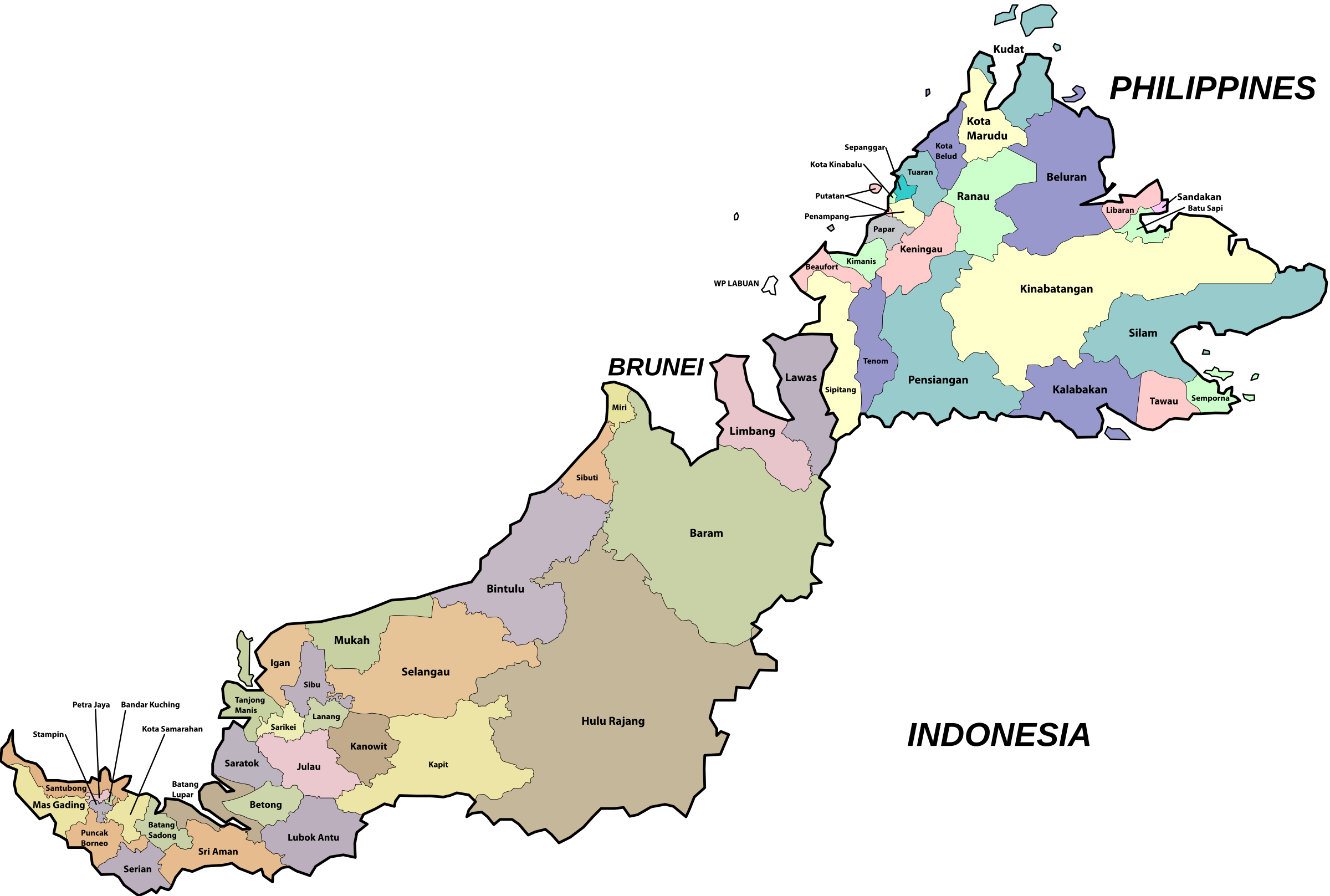 Sabah and Sarawak Parliamentary Map by derkommander0916