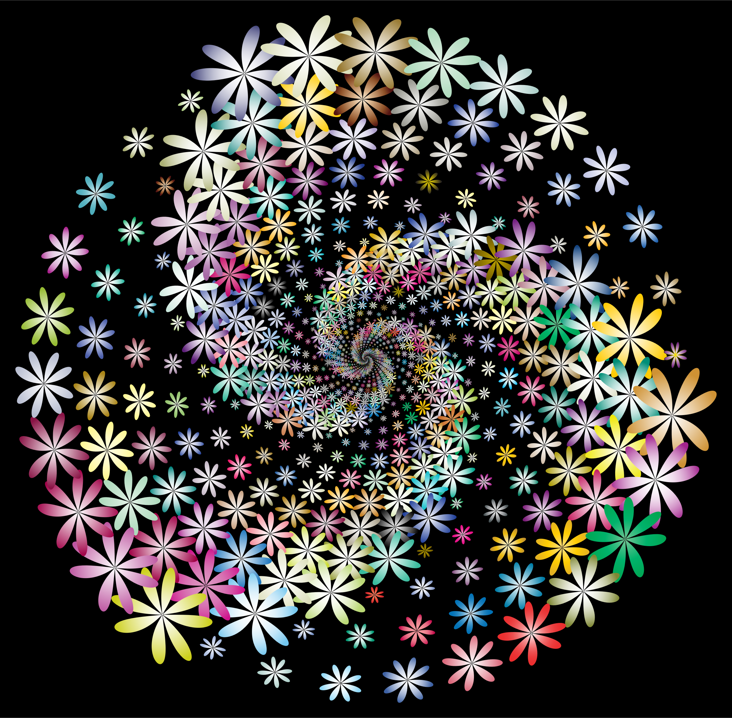 Prismatic Floral Vortex 2 With Background by GDJ
