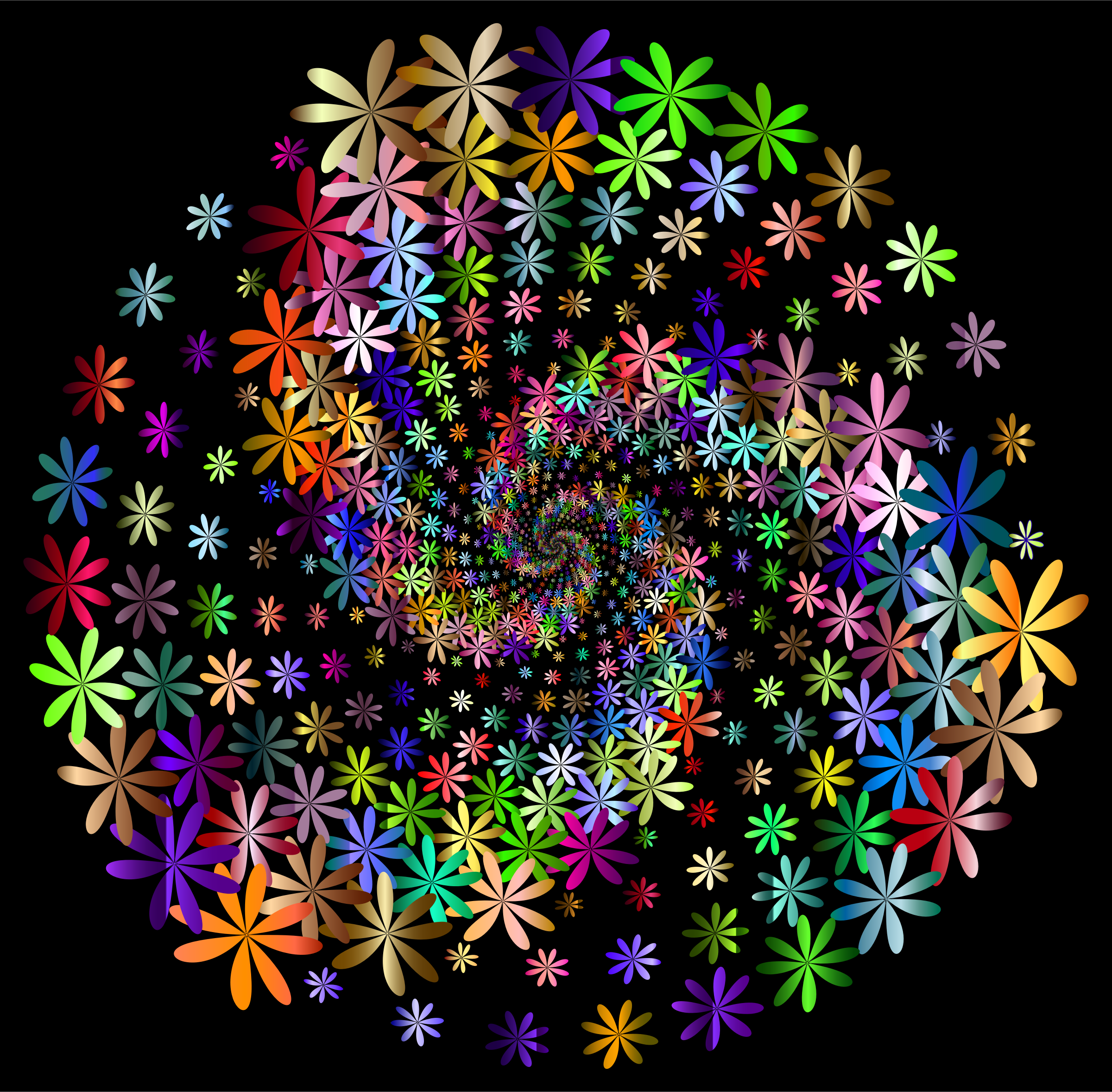 Prismatic Floral Vortex 5 With Background by GDJ