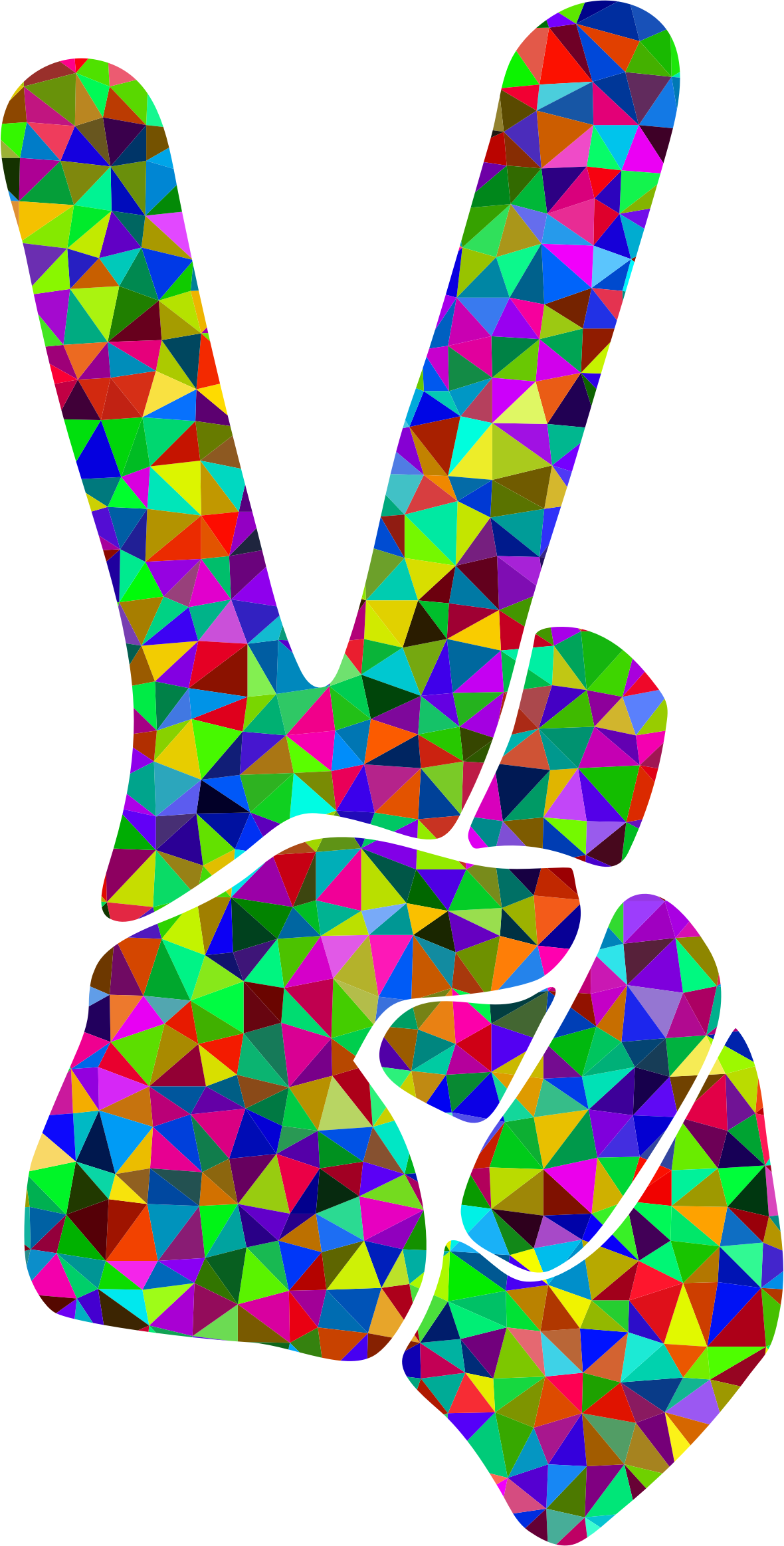 Low Poly Prismatic Peace Sign Silhouette Smoothed by GDJ