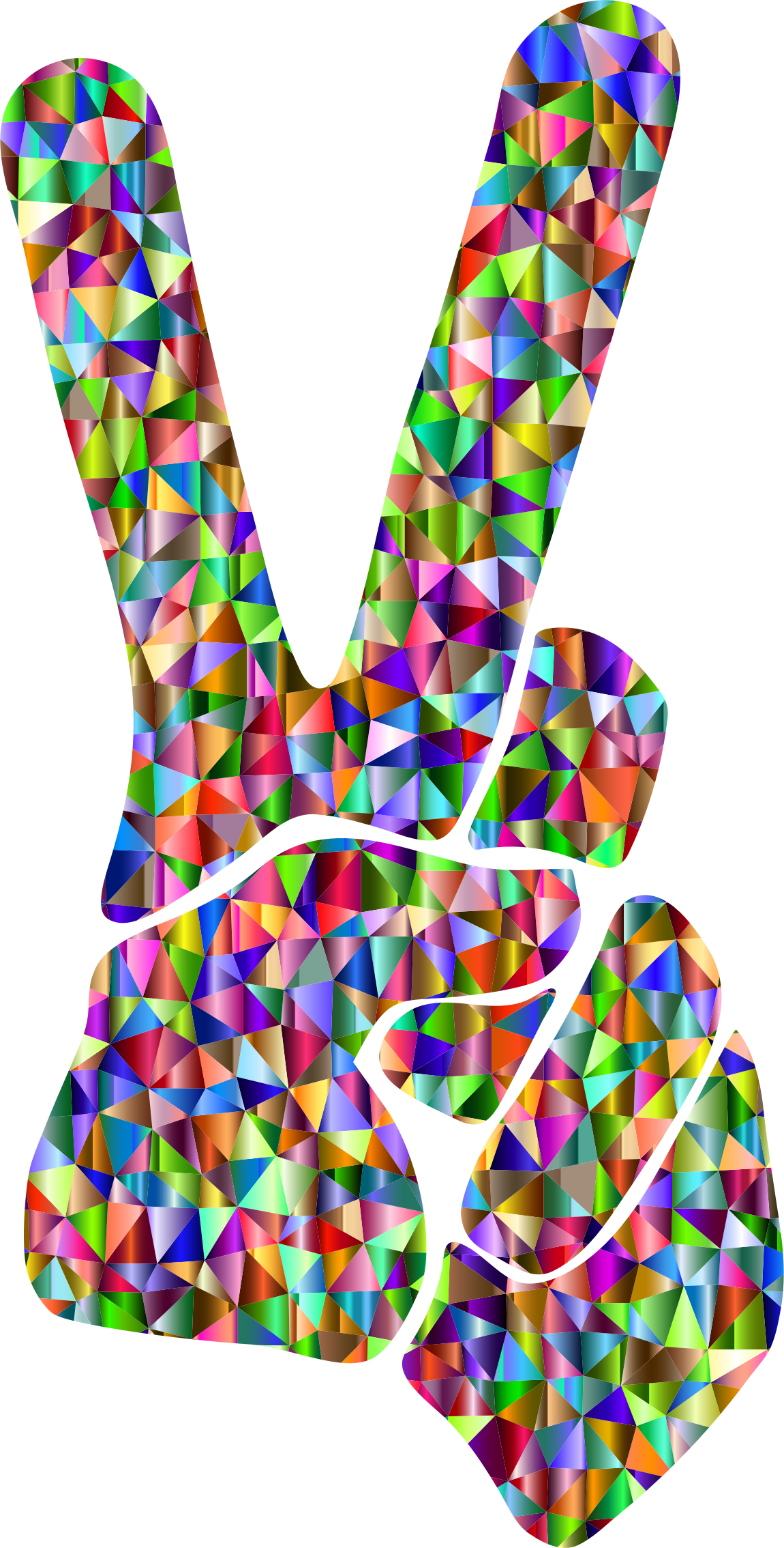 Low Poly Chromatic Peace Sign Silhouette Smoothed by GDJ