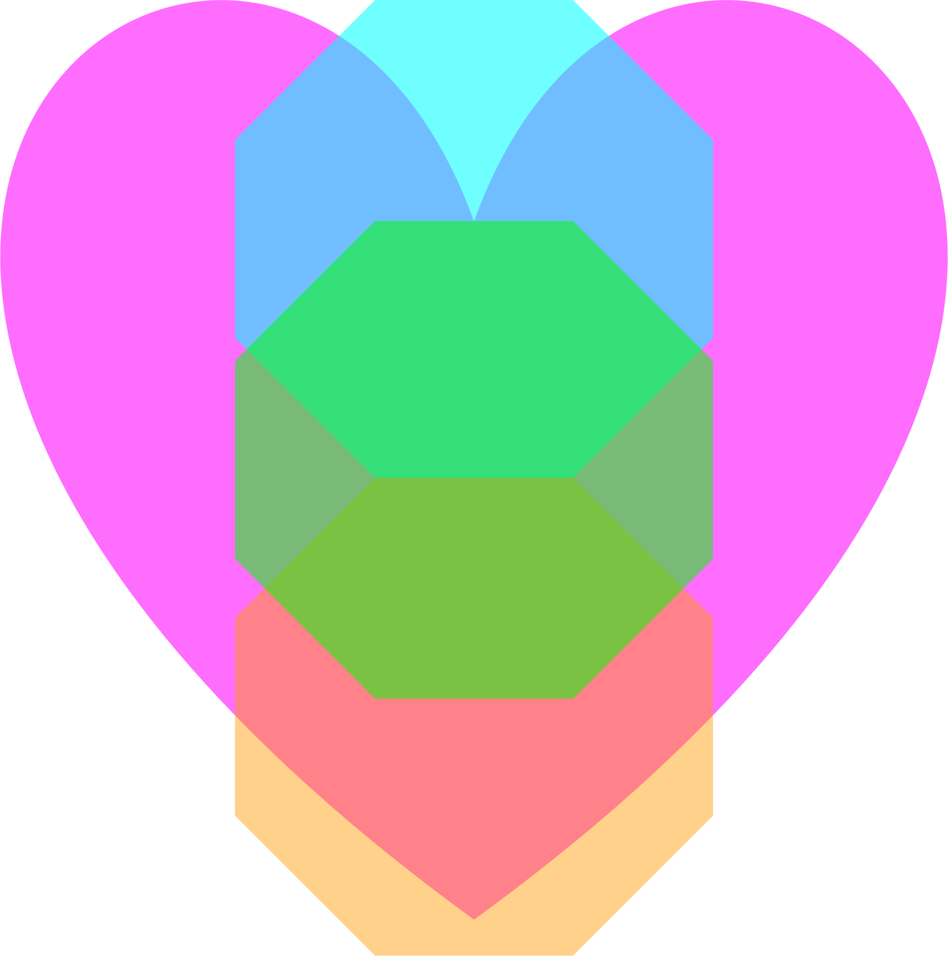 Transparent Magenta Loveheart Octagon Cyan Green Orange  by howlar