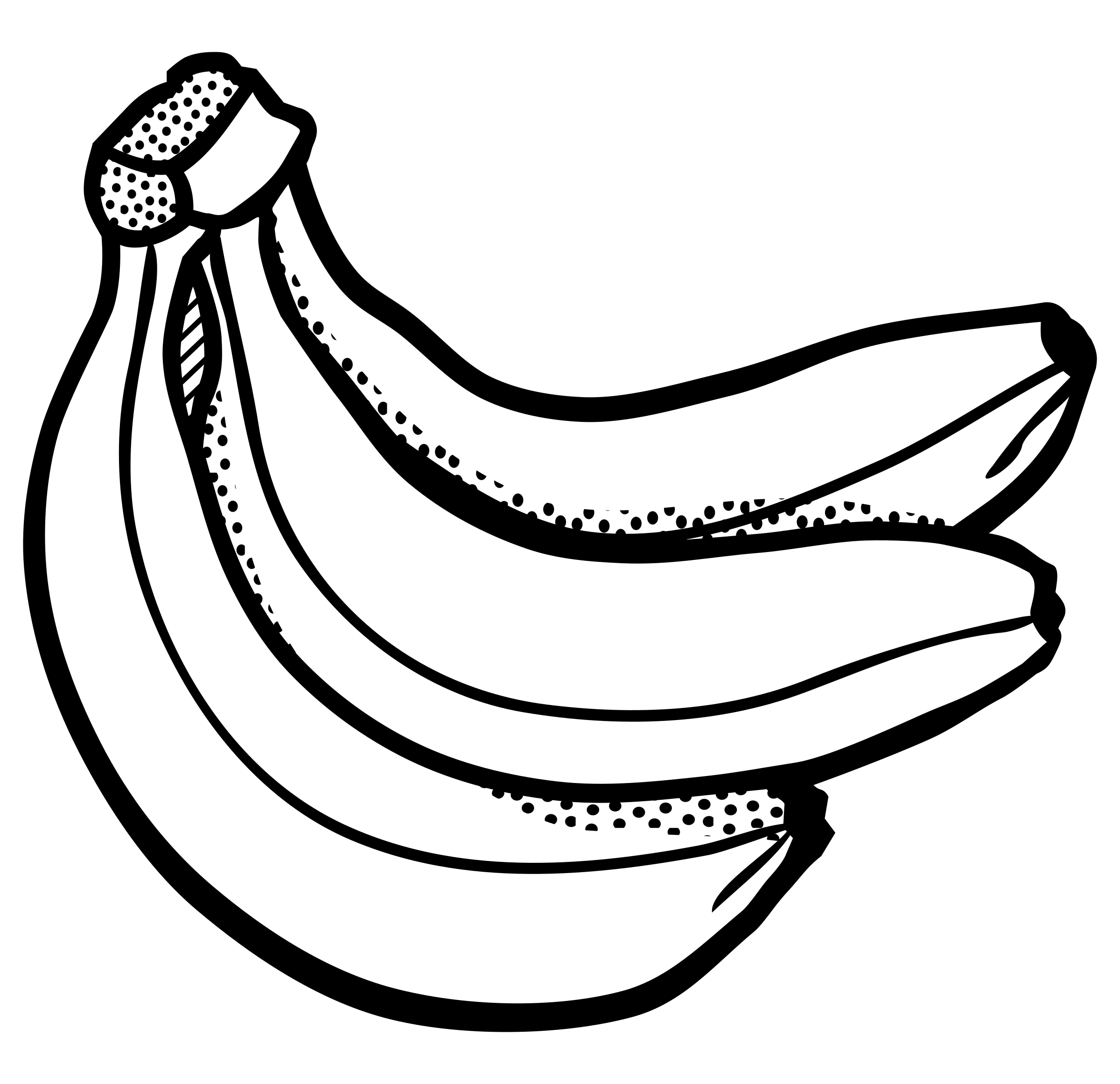 Clipart - bunch of bananas - lineart
