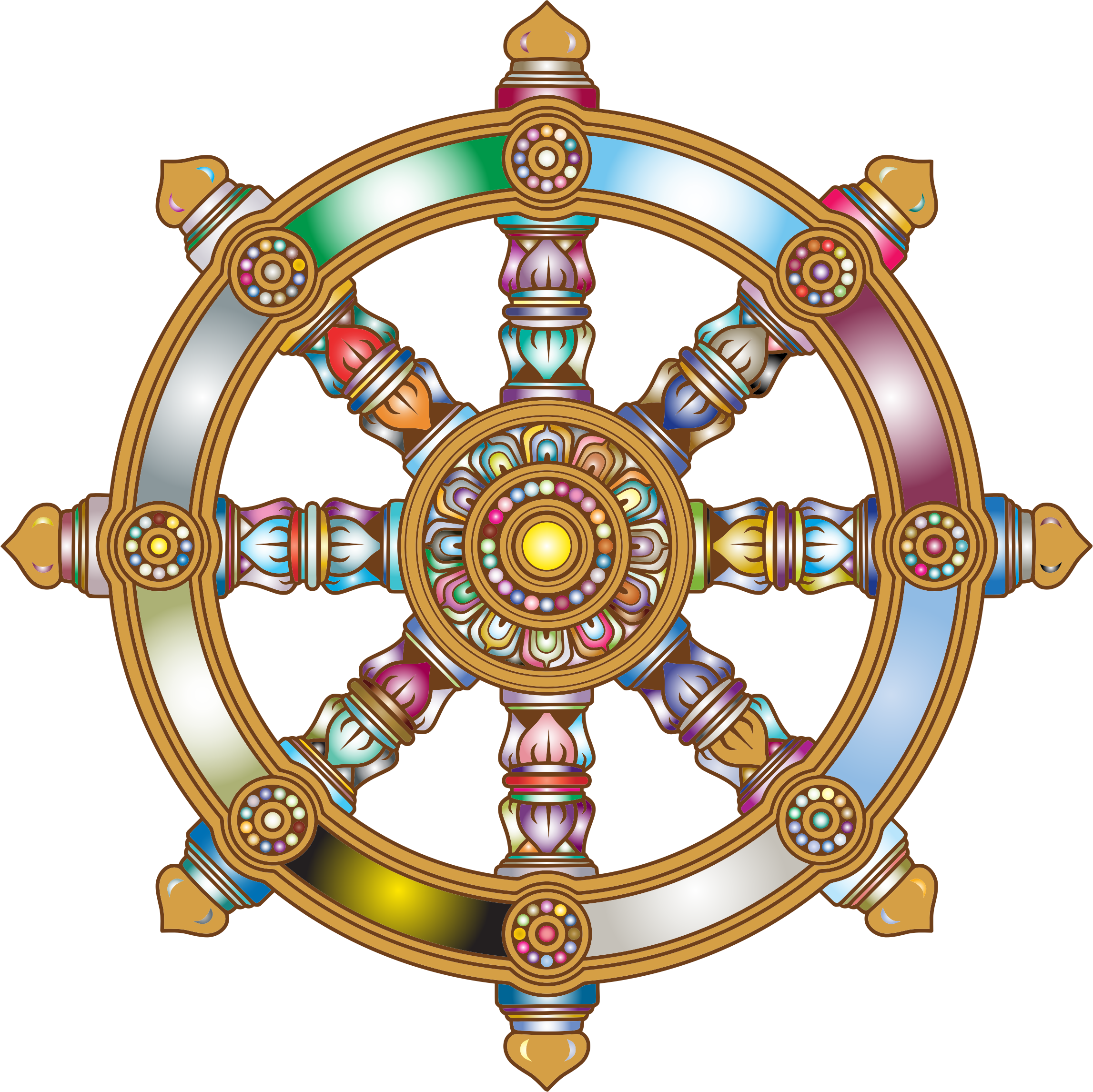Clipart - Prismatic Ornate Dharma Wheel 3