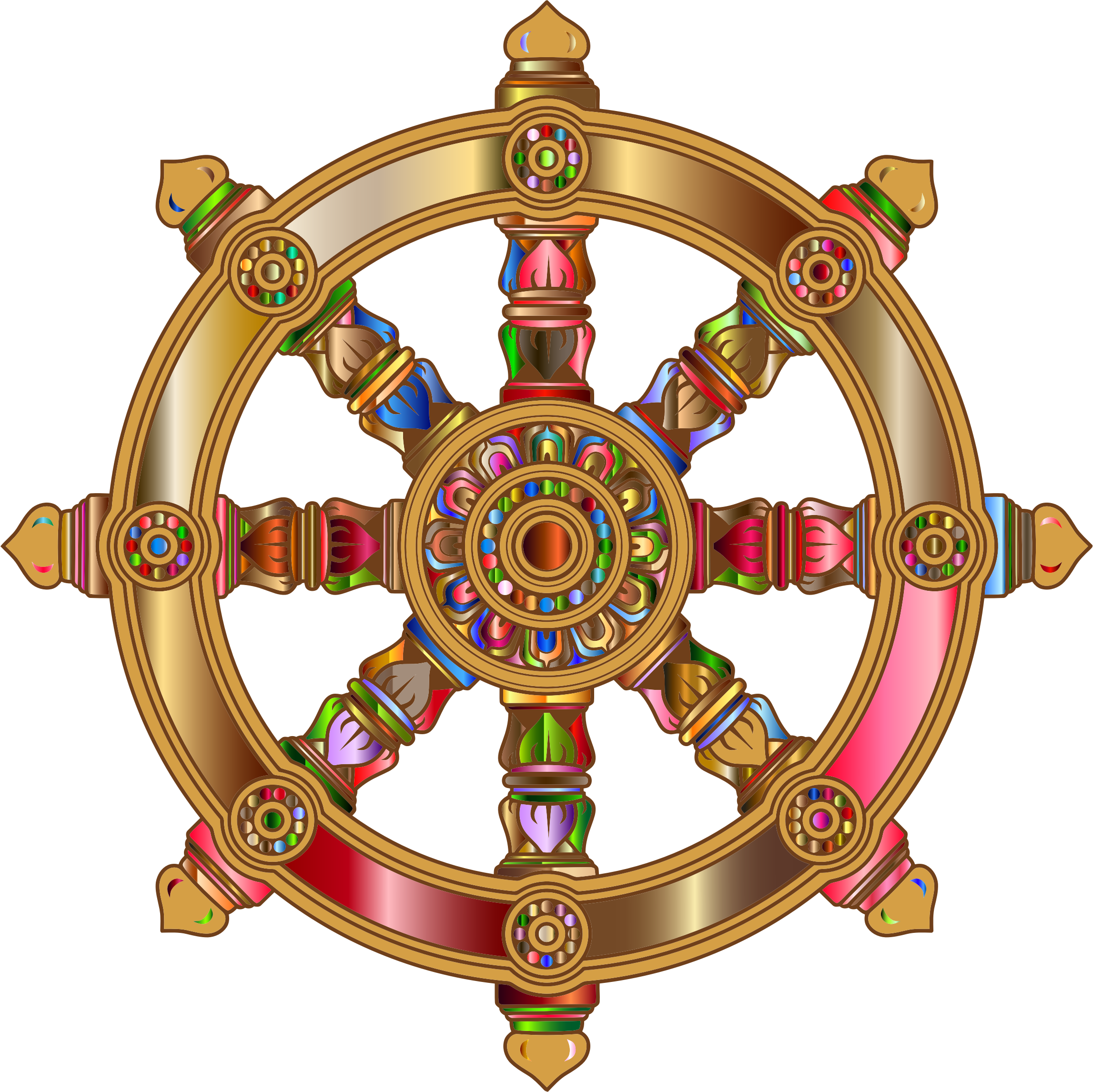 Prismatic Ornate Dharma Wheel 4 by GDJ