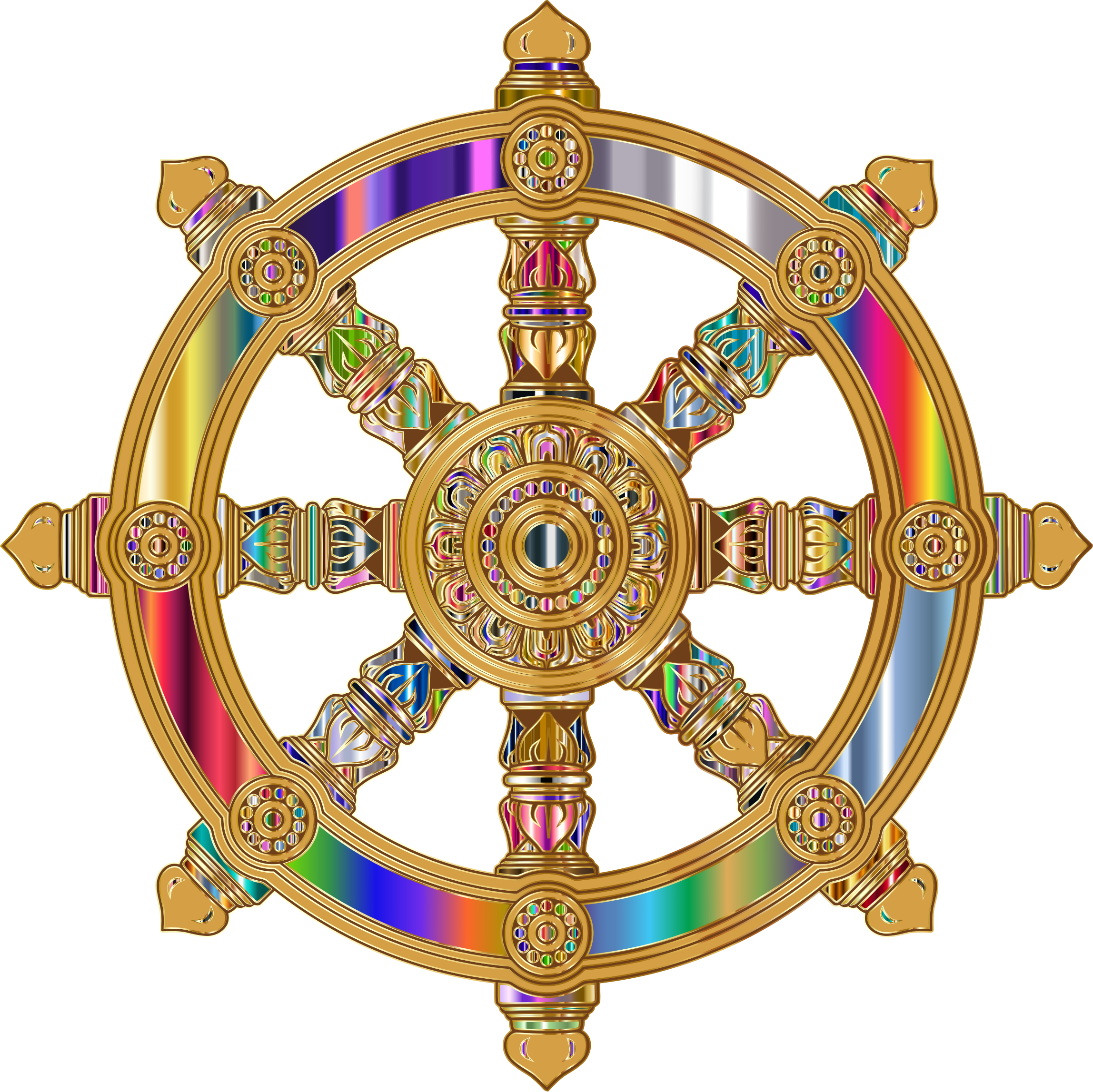 Prismatic Ornate Dharma Wheel 7 by GDJ