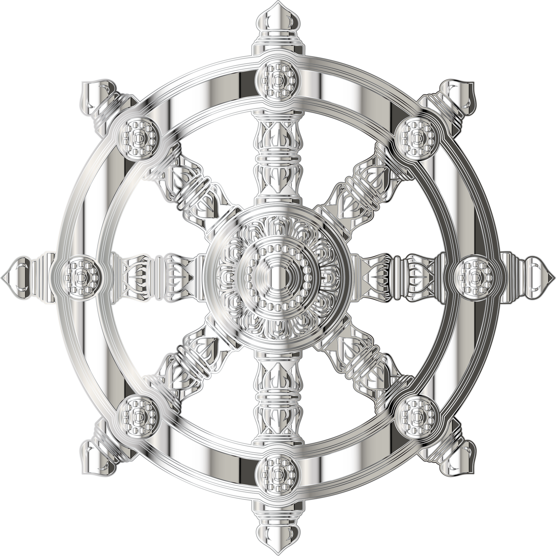 Mirrored Chrome Ornate Dharma Wheel by GDJ