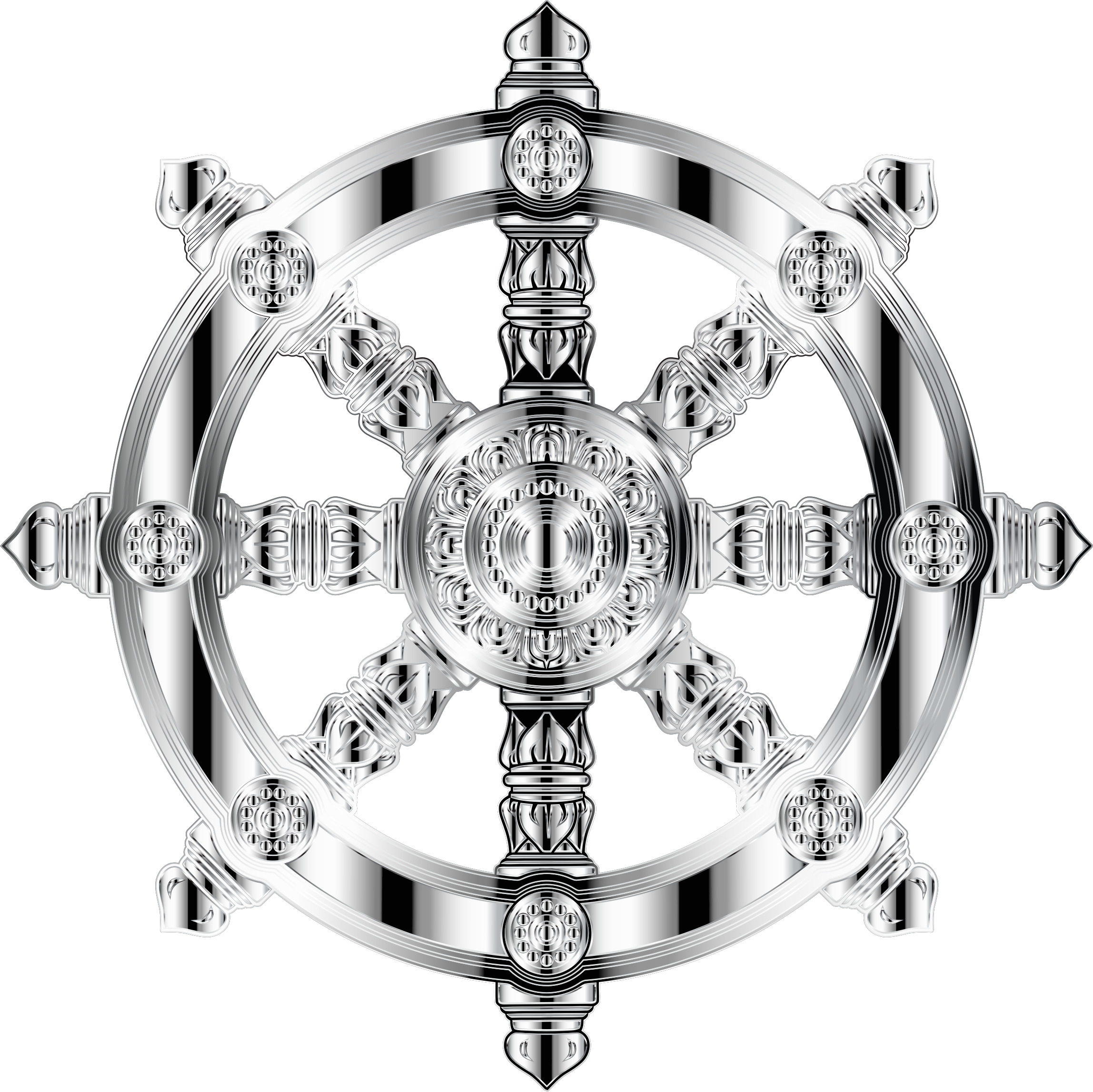 Mirrored Chrome Ornate Dharma Wheel 2 by GDJ