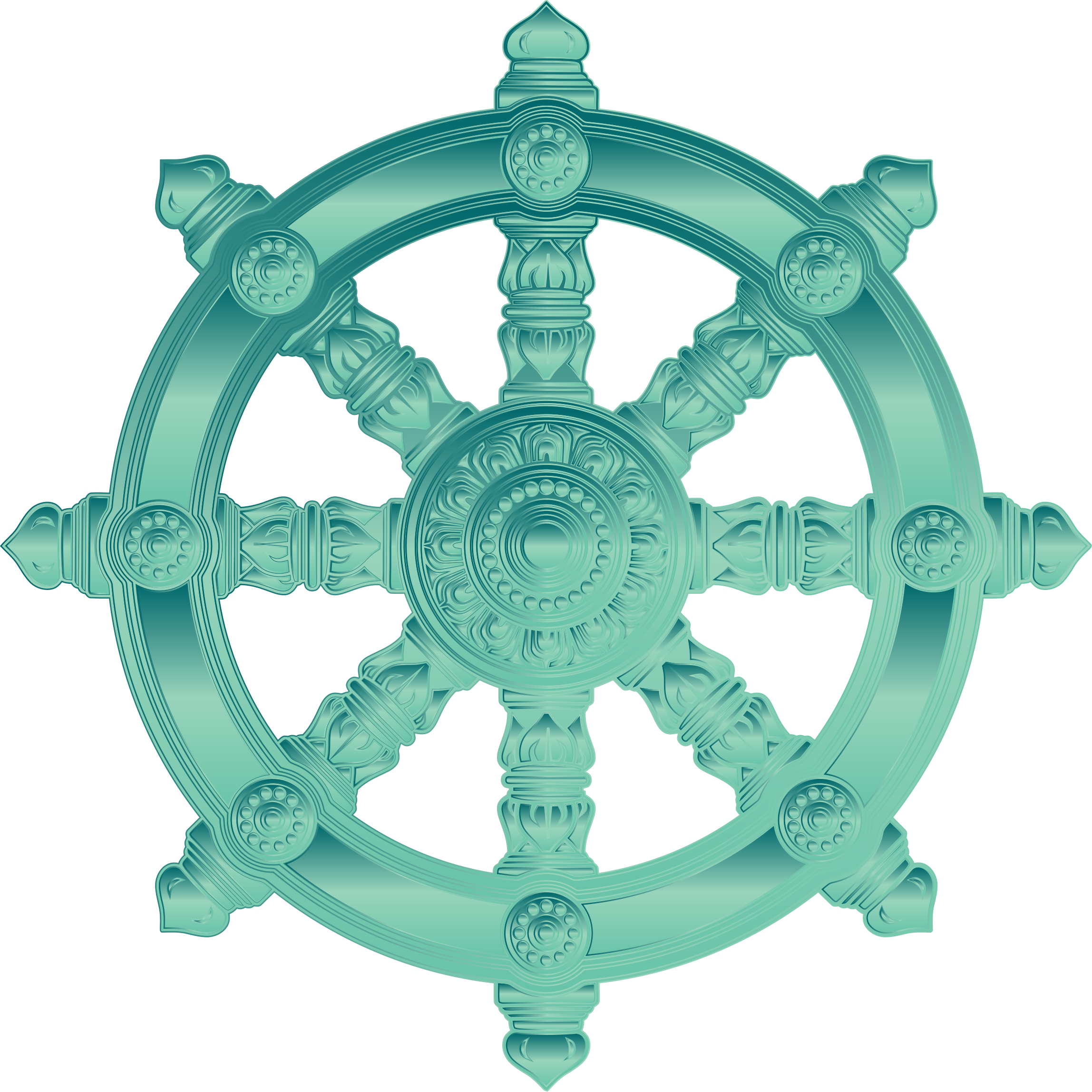 Jade Ornate Dharma Wheel by GDJ