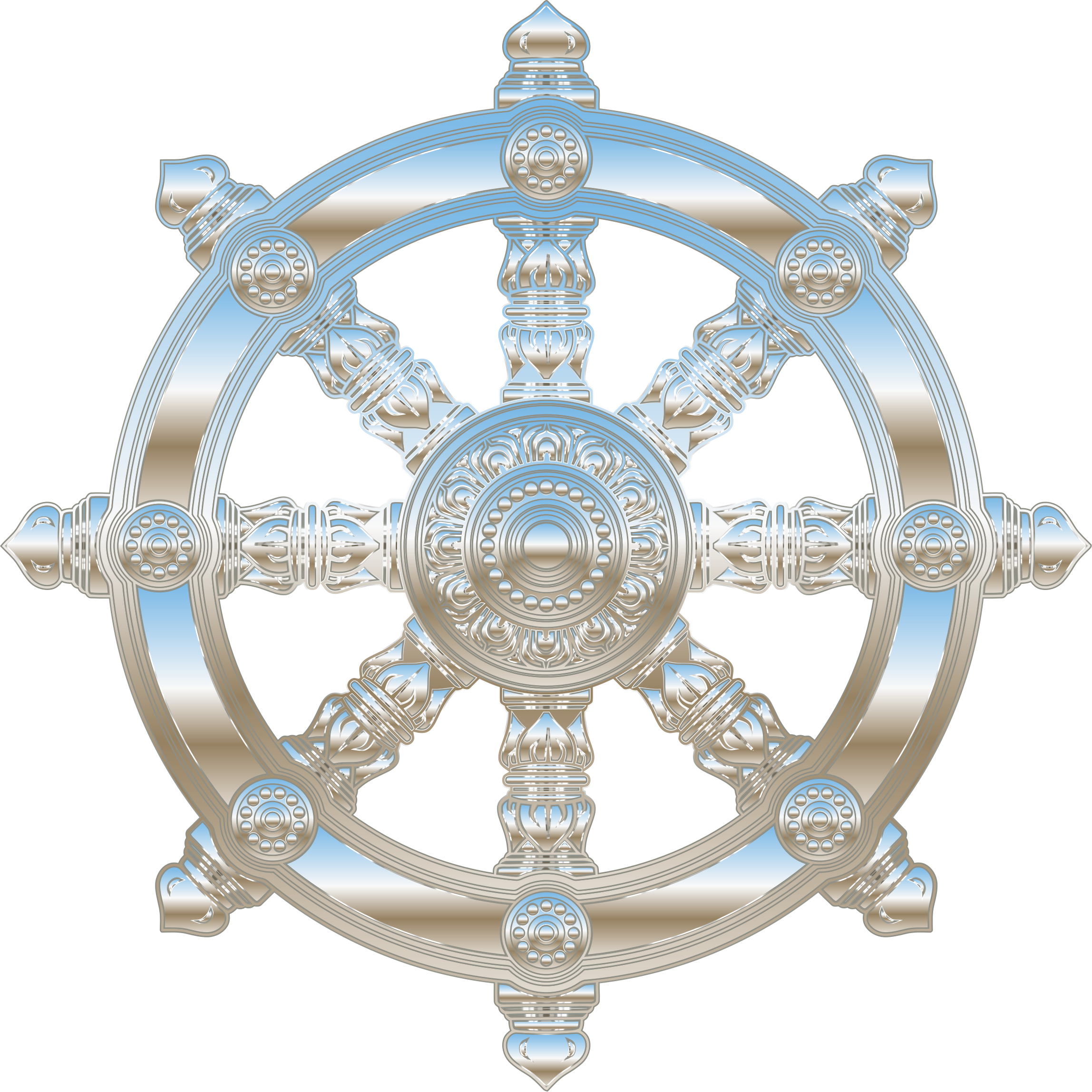 Environment Mapped Chrome Ornate Dharma Wheel by GDJ
