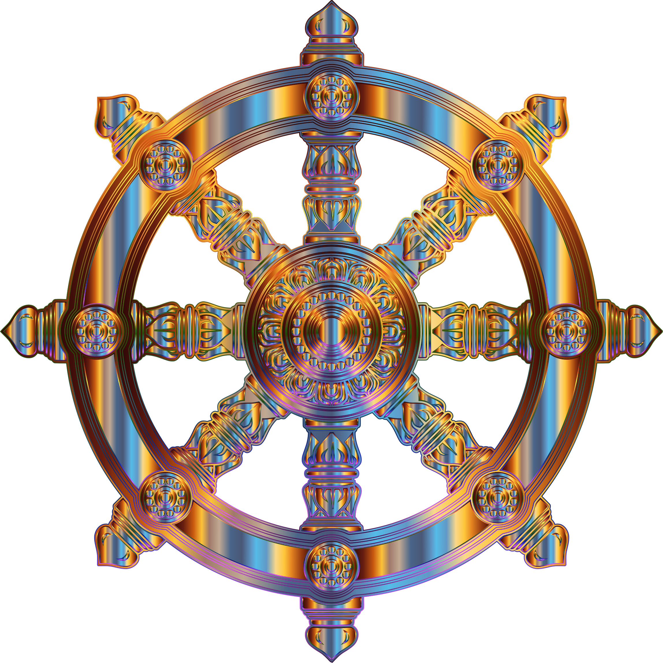 Chromatic Ornate Dharma Wheel by GDJ
