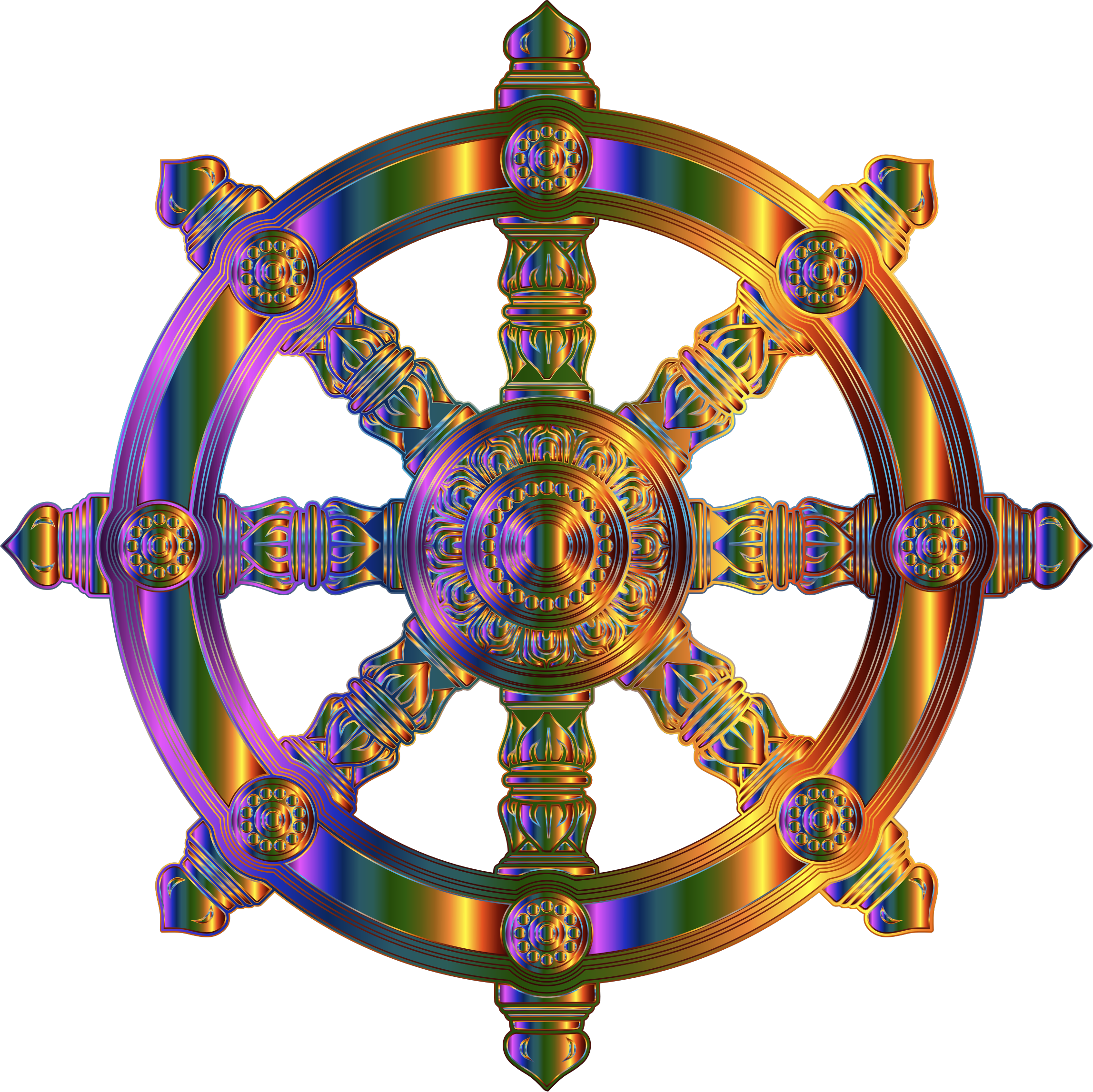 Chromatic Ornate Dharma Wheel 2 by GDJ