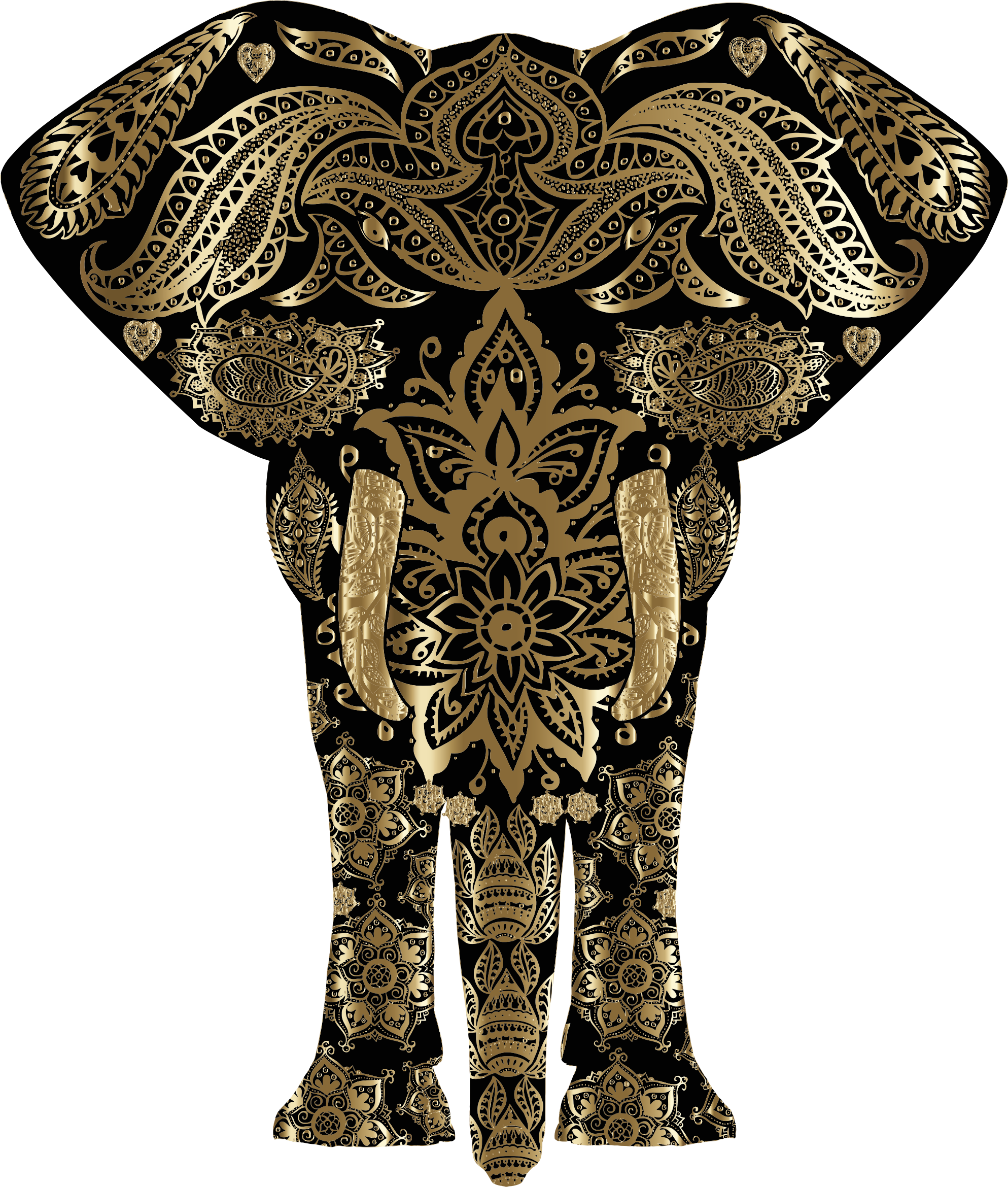 Copper Floral Pattern Elephant by GDJ