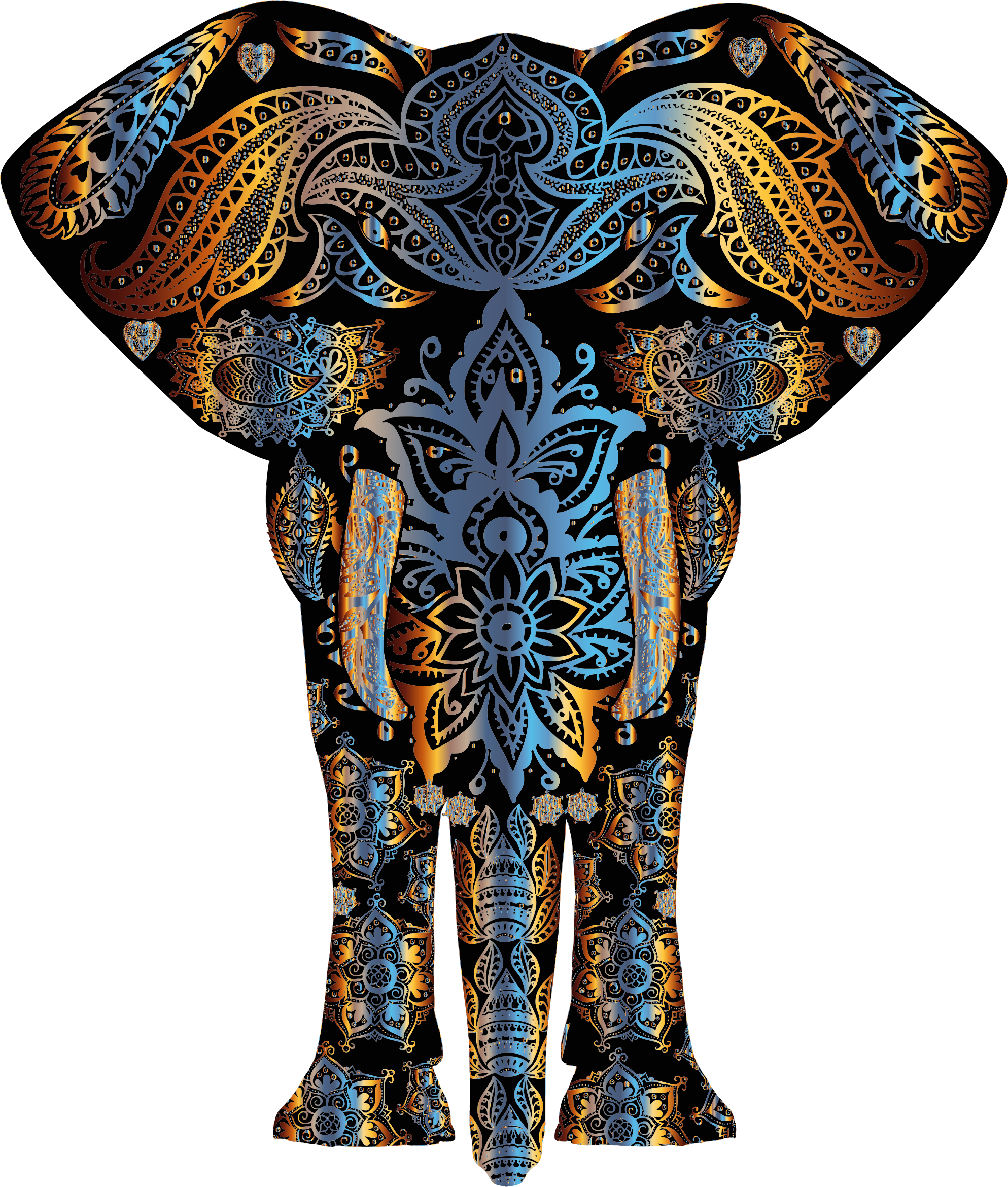 Chromatic Floral Pattern Elephant by GDJ