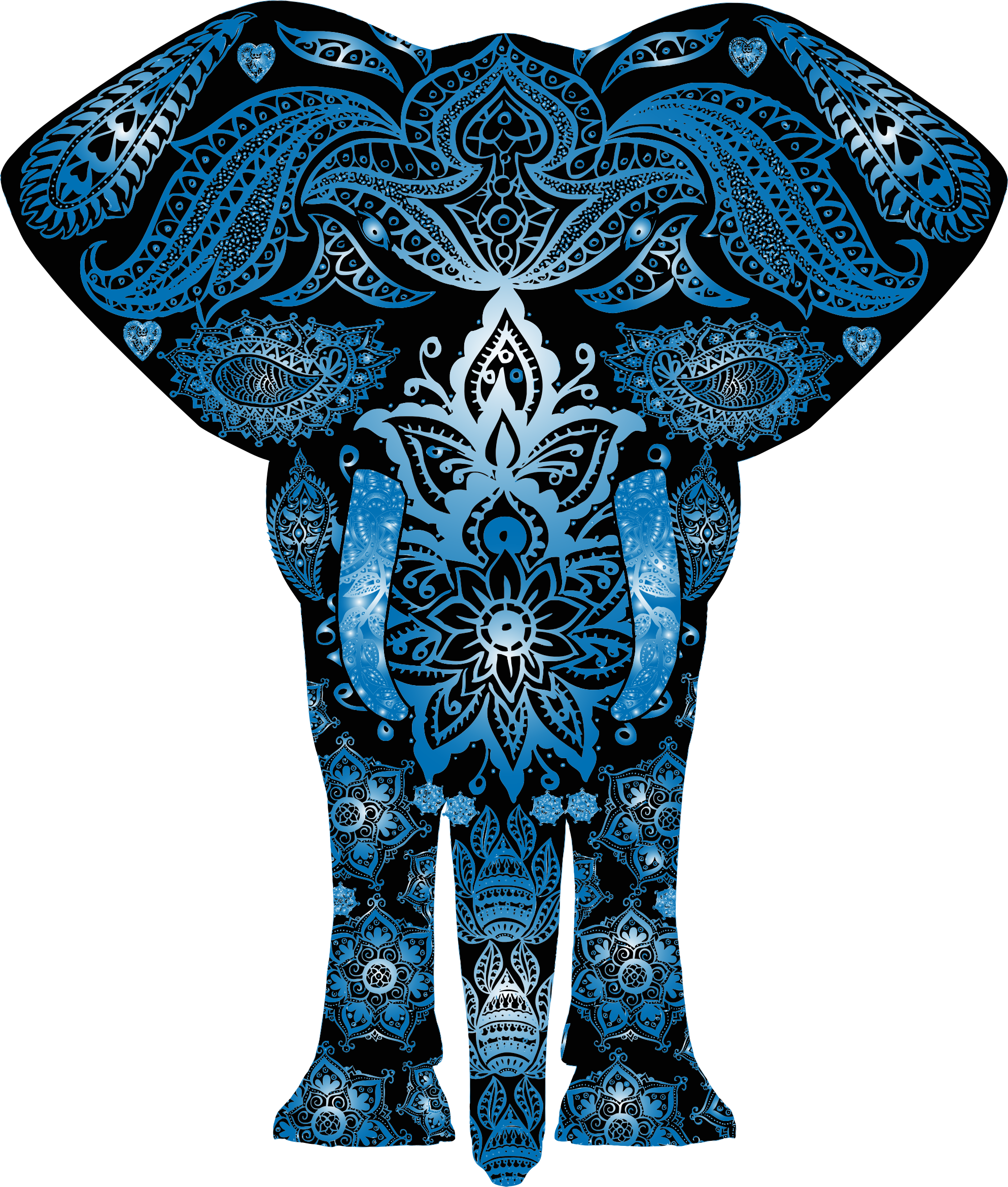 Blue Floral Pattern Elephant by GDJ