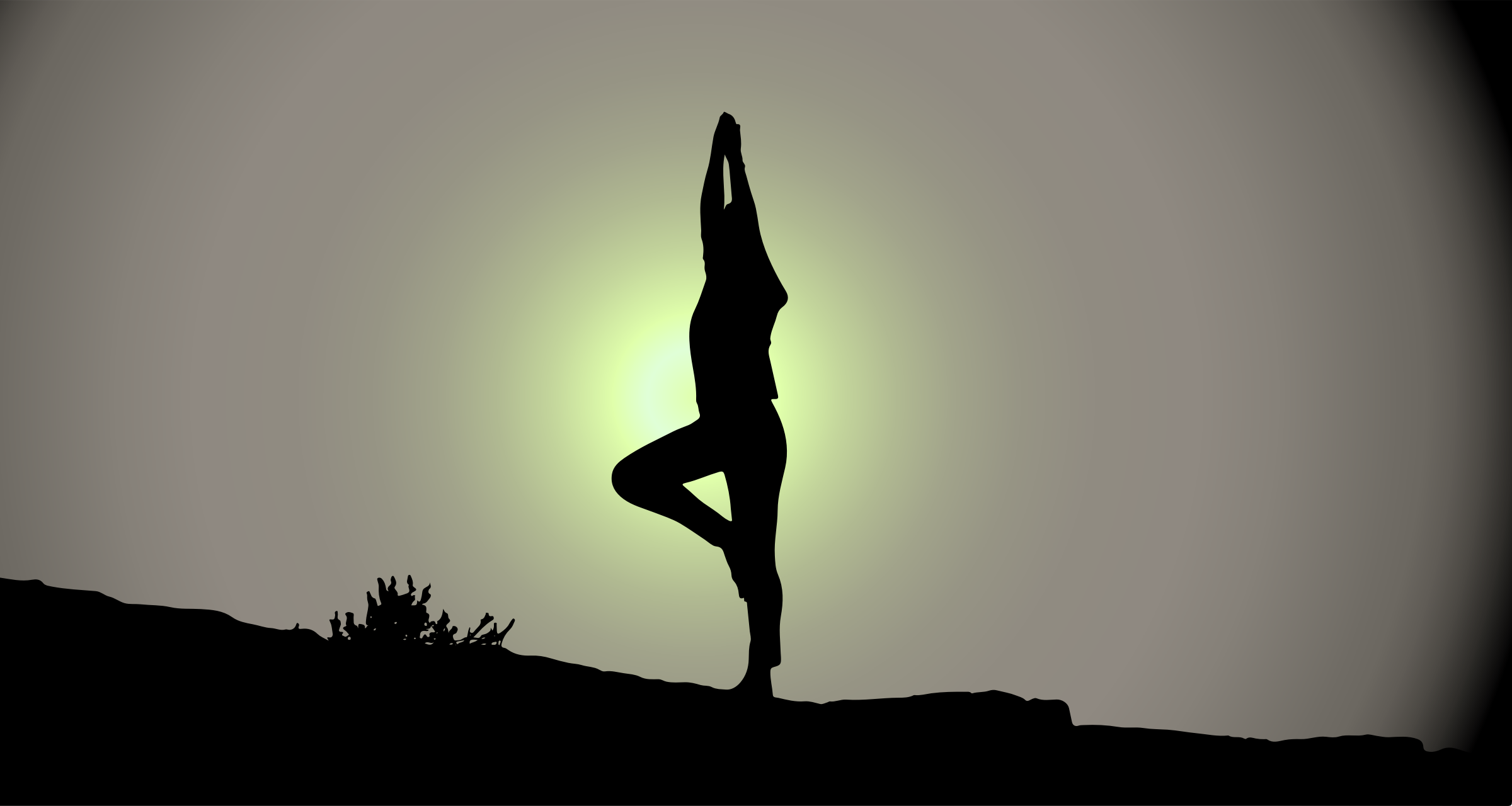 Female Yoga Pose Silhouette Sunrise by GDJ