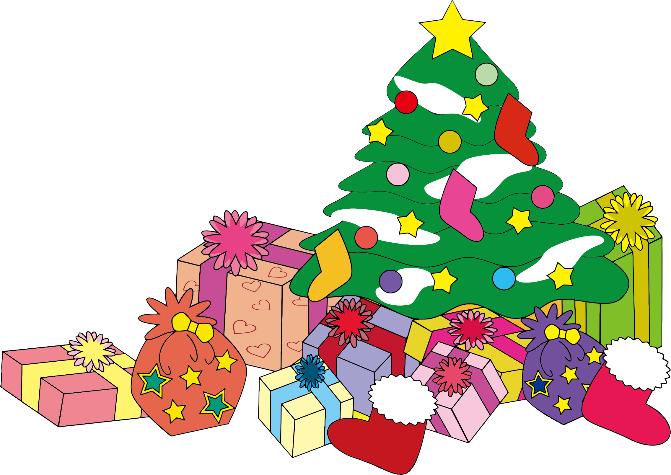 Christmas Tree And Presents Illustration by GDJ