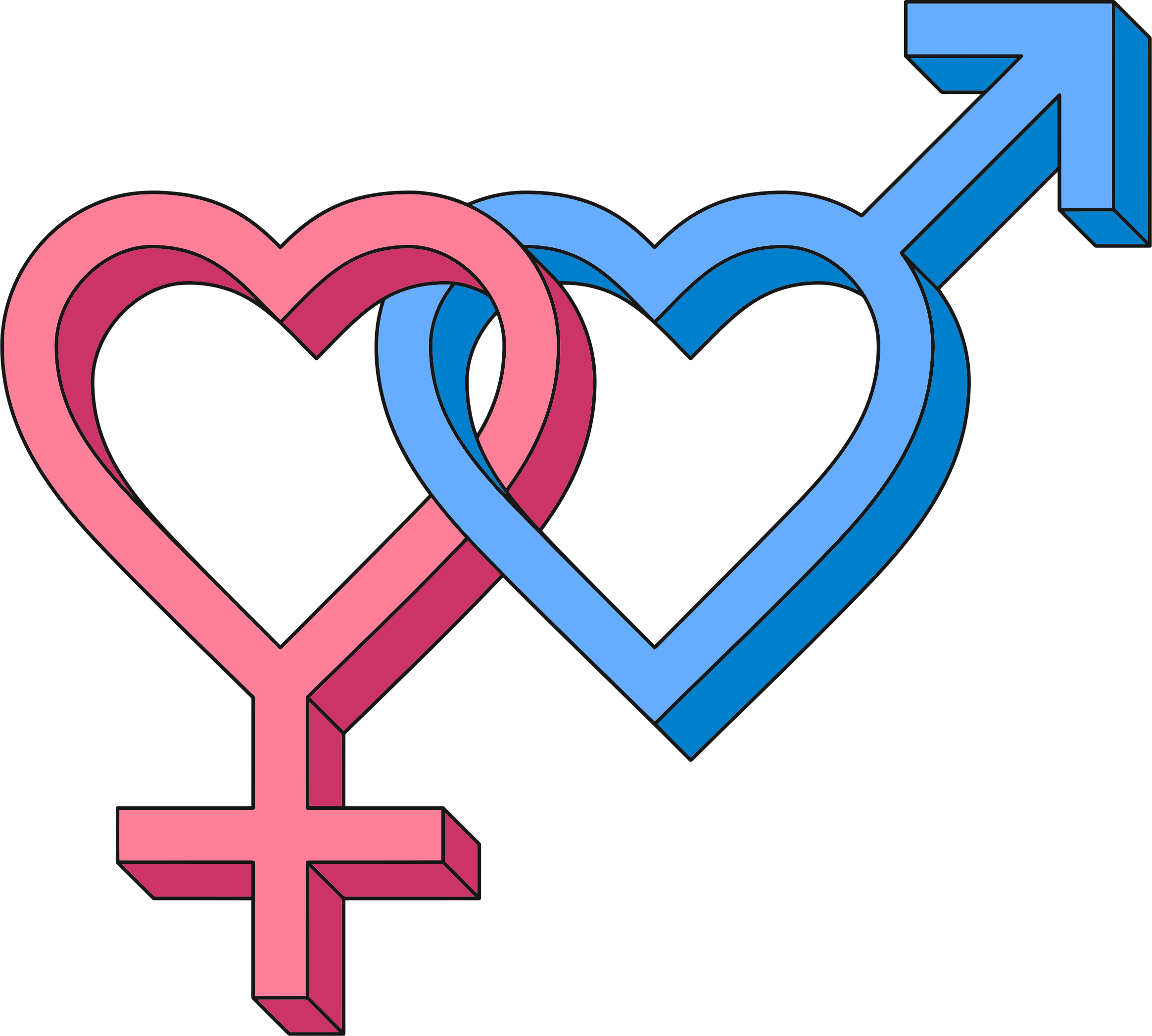 3d Isometric Intertwined Gender Hearts by GDJ