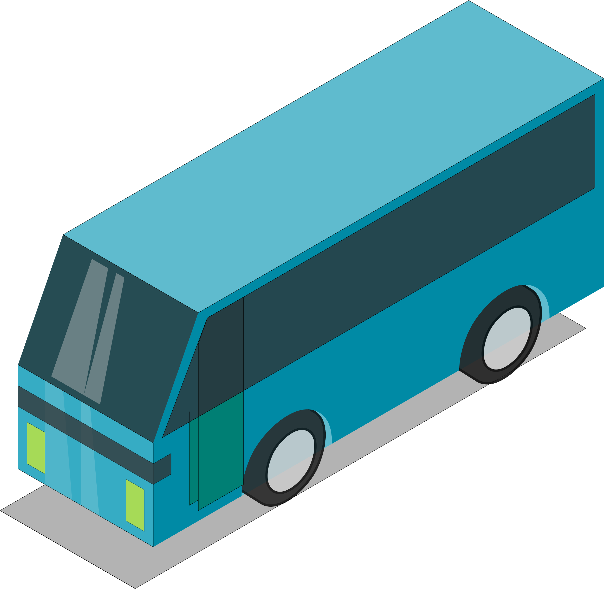 Blue bus (teal) by Astro