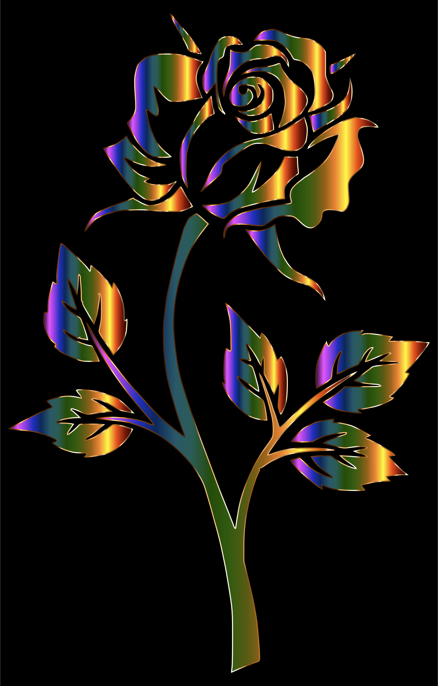 Chromatic Rose Silhouette by GDJ
