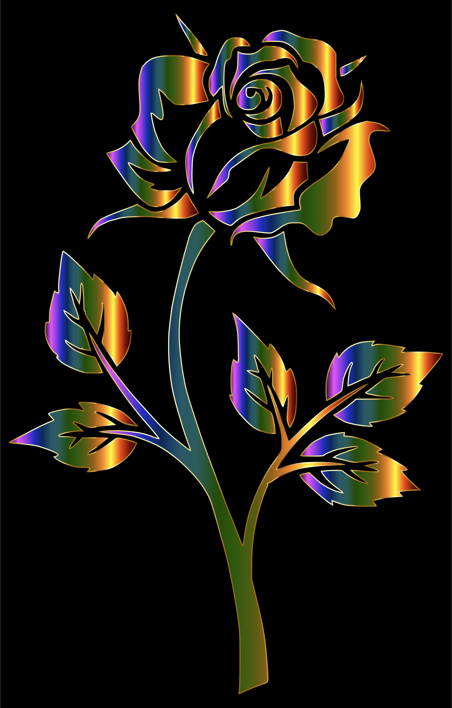 Chromatic Rose Silhouette Variation 2 by GDJ