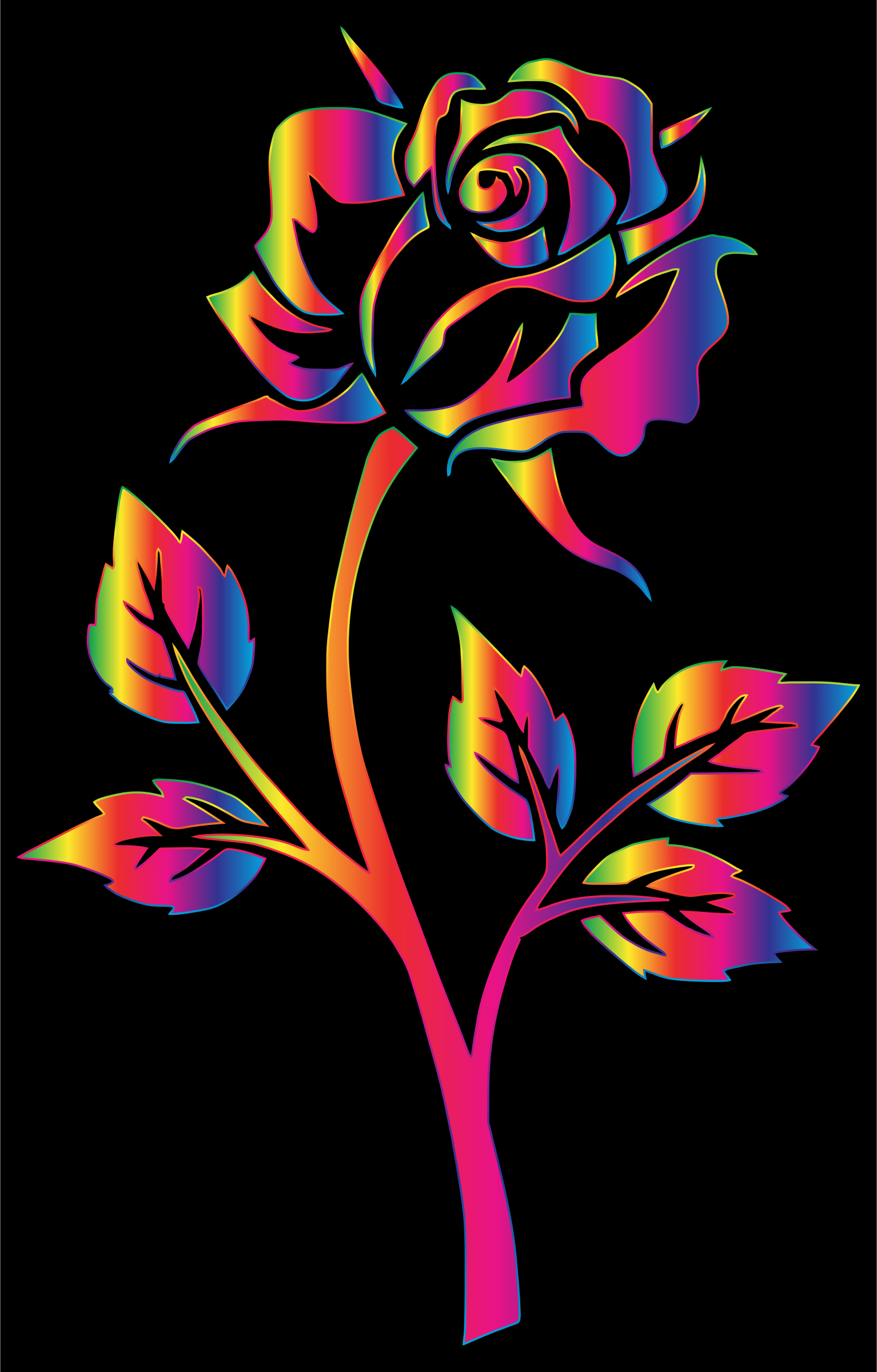 Chromatic Rose Silhouette 4 by GDJ