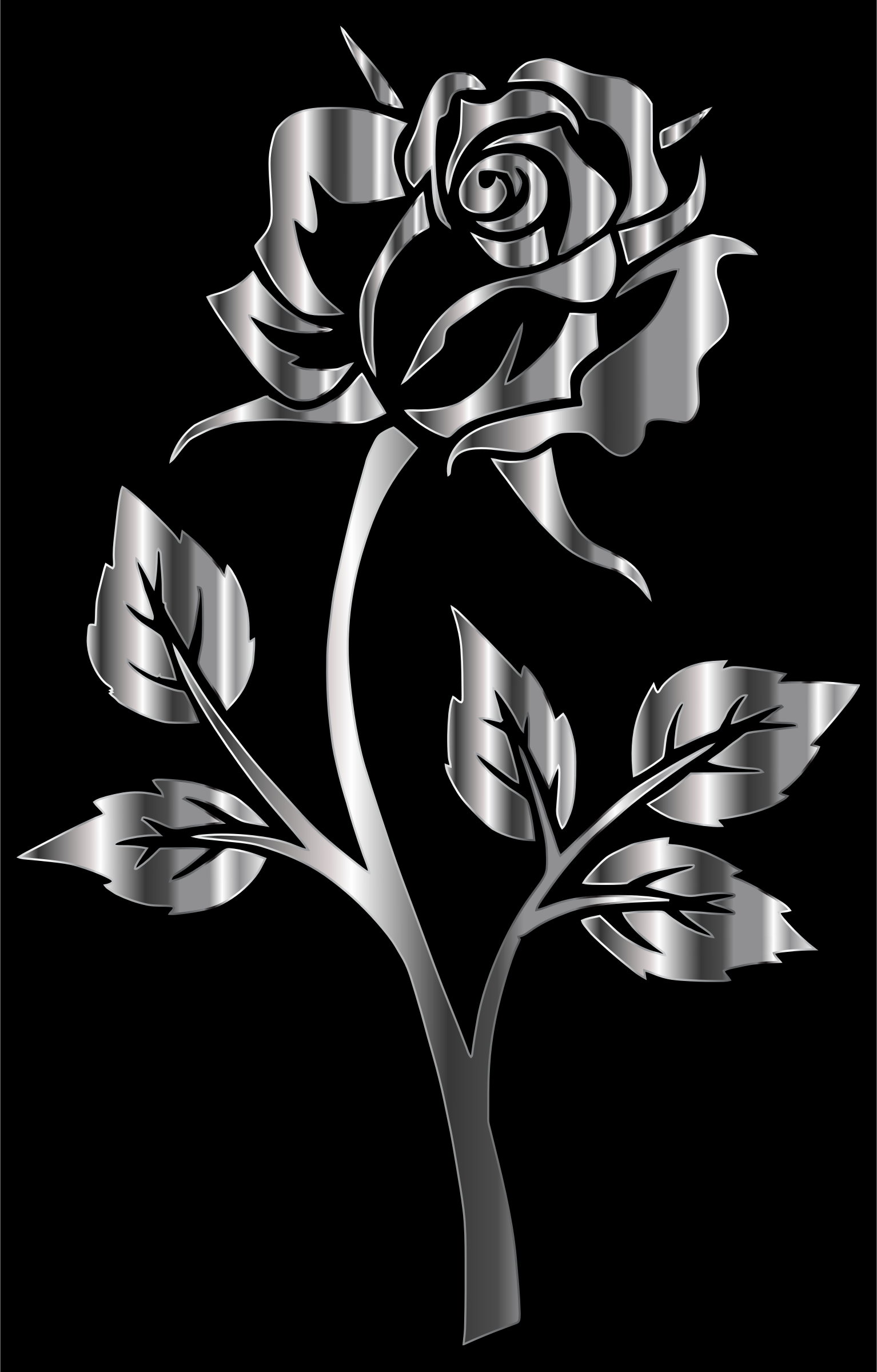 Stainless Steel Rose Silhouette by GDJ