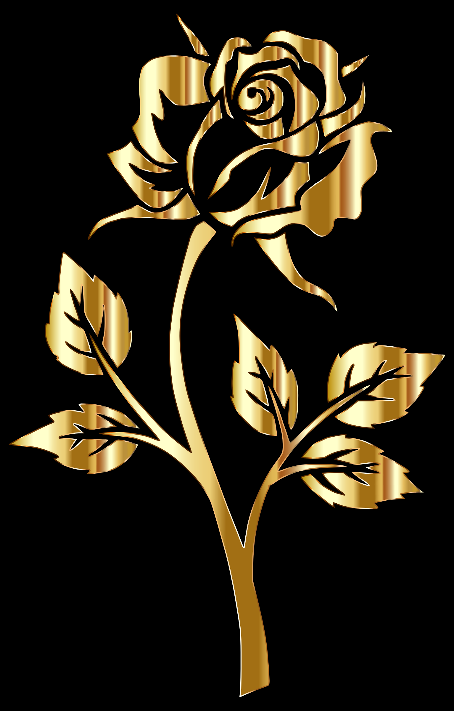 Gold Rose Silhouette by GDJ
