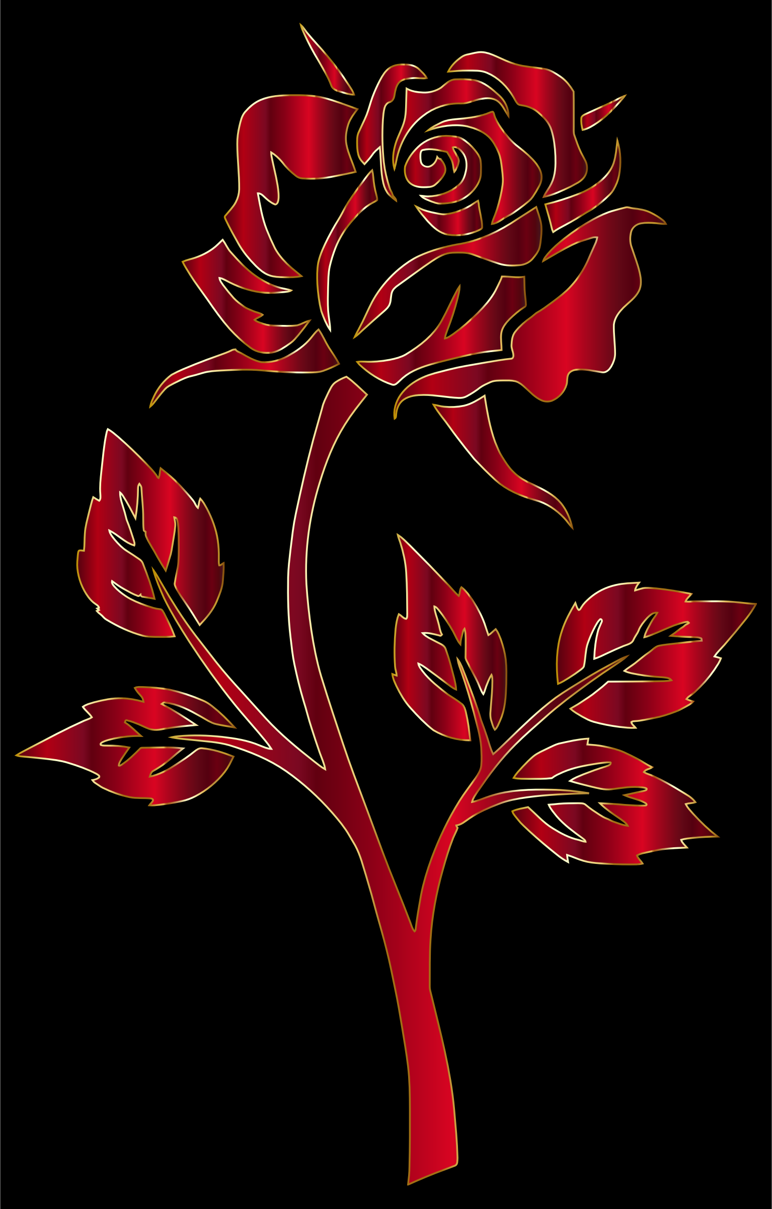 Crimson Rose Silhouette by GDJ