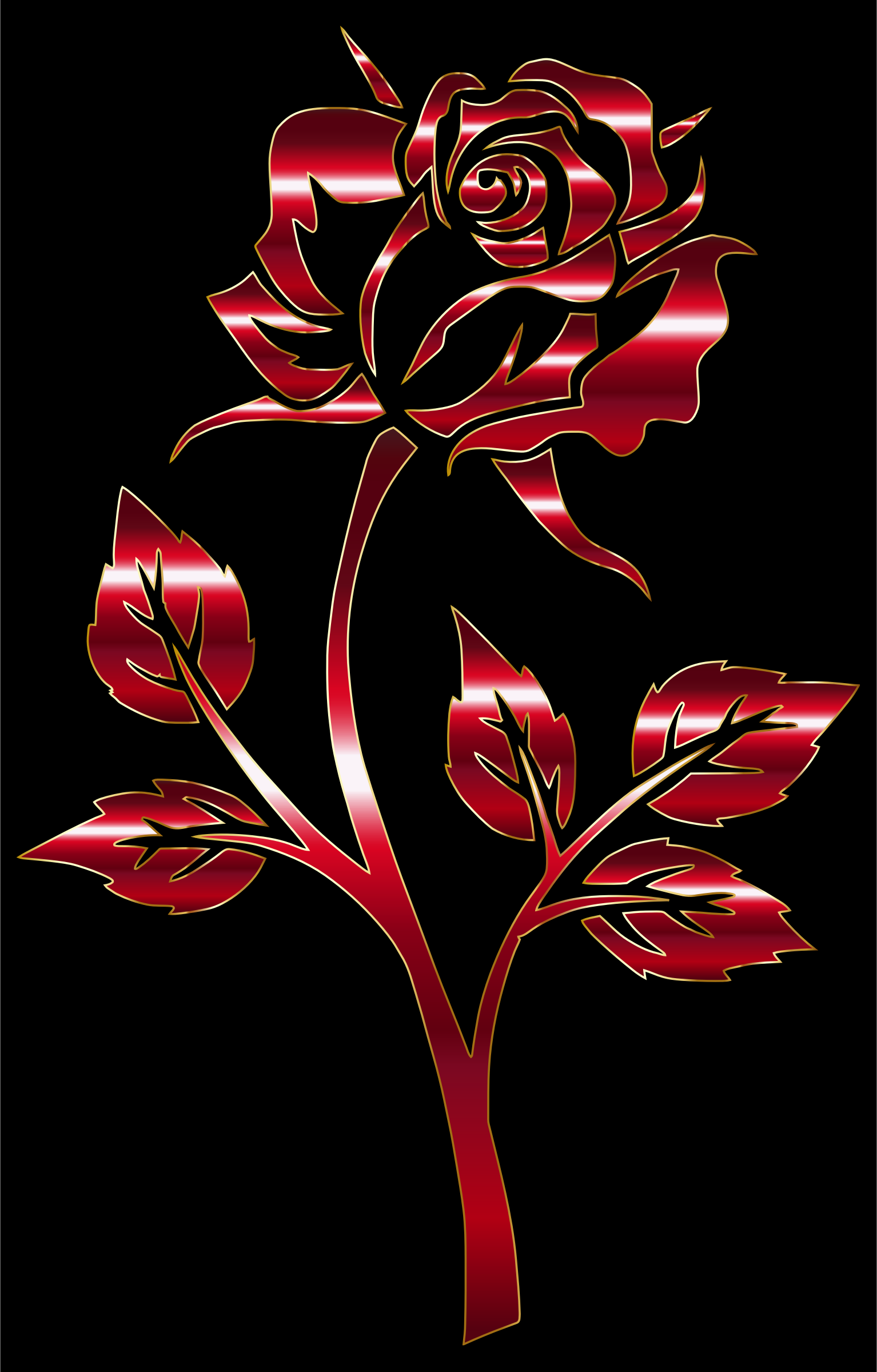 Crimson Rose Silhouette Variation 2 by GDJ