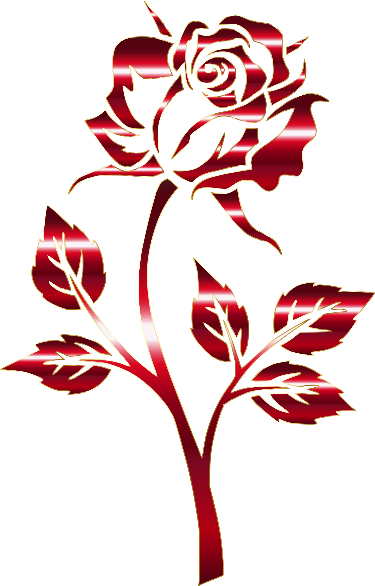 Crimson Rose Silhouette Variation 2 No Background by GDJ
