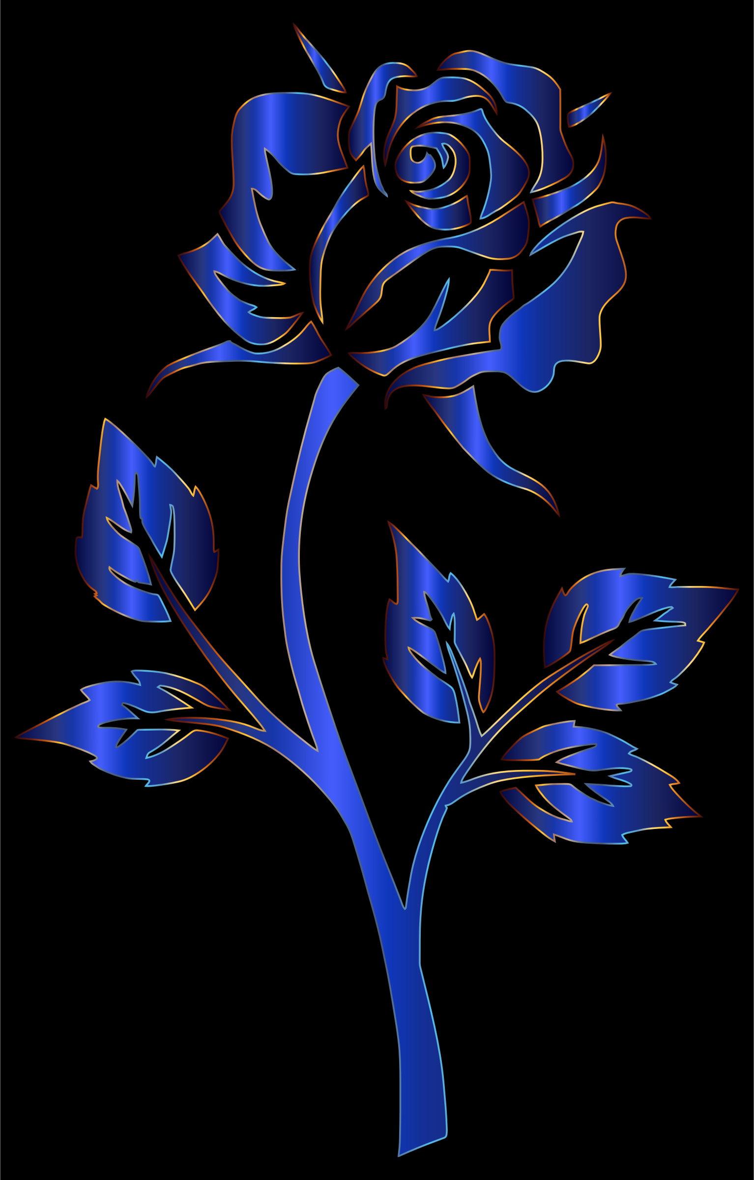 Azure Rose Silhouette by GDJ